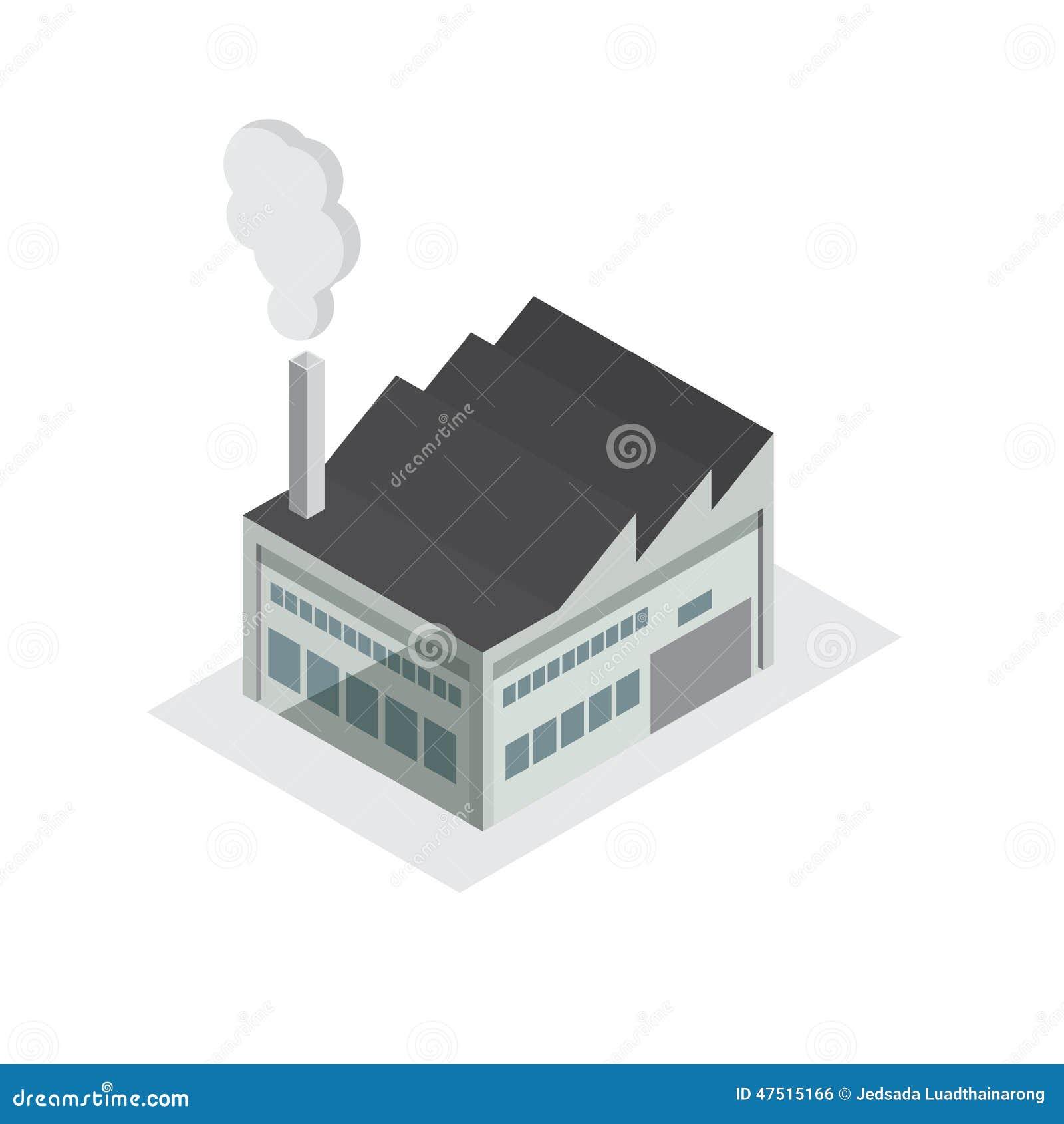 Factory Building Small Model Design Stock Vector