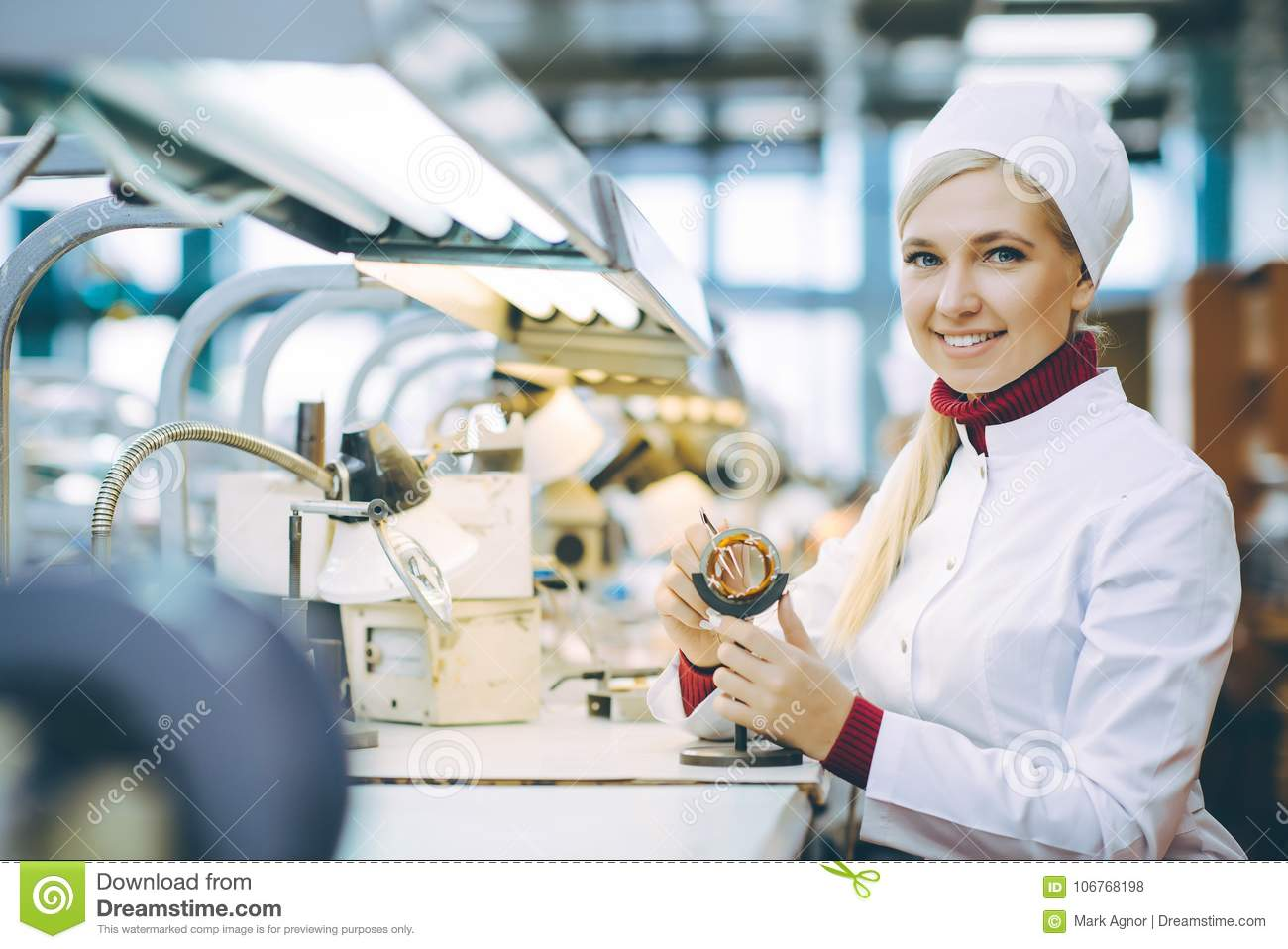 Factory electronics worker