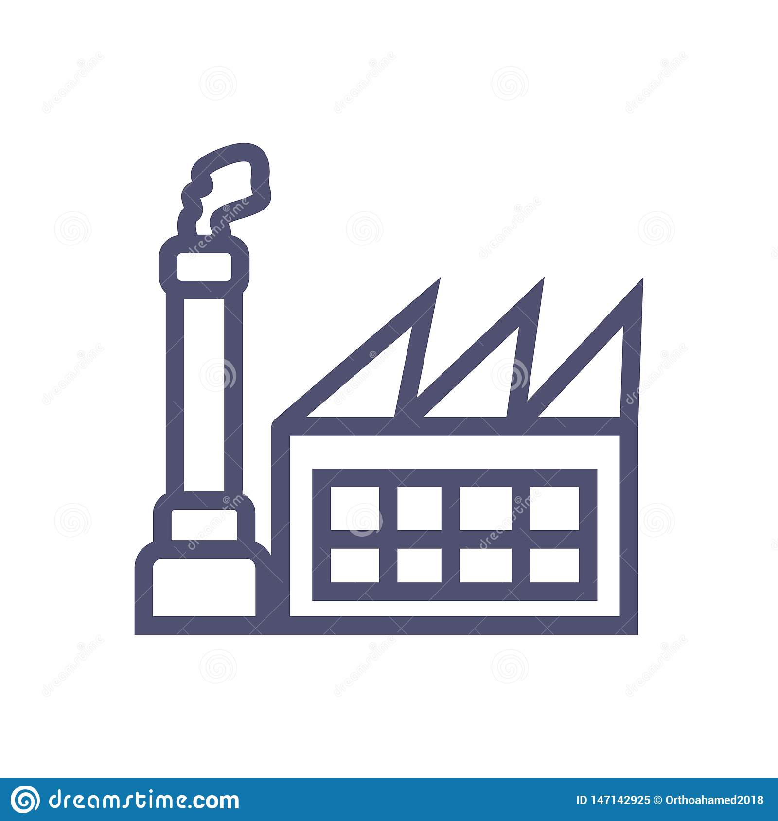 Factory icon. simple clean factory sign symbol -vector