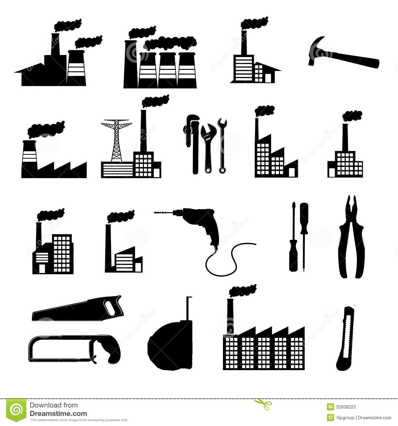 Stock Photos Factory Icons Over White Background Vector Illustration Image32608223