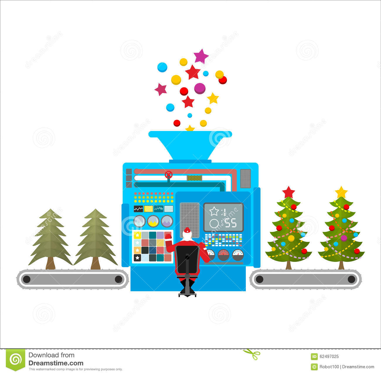 Factory Machine For Release Of Beautiful Christmas Trees. Tree F ...