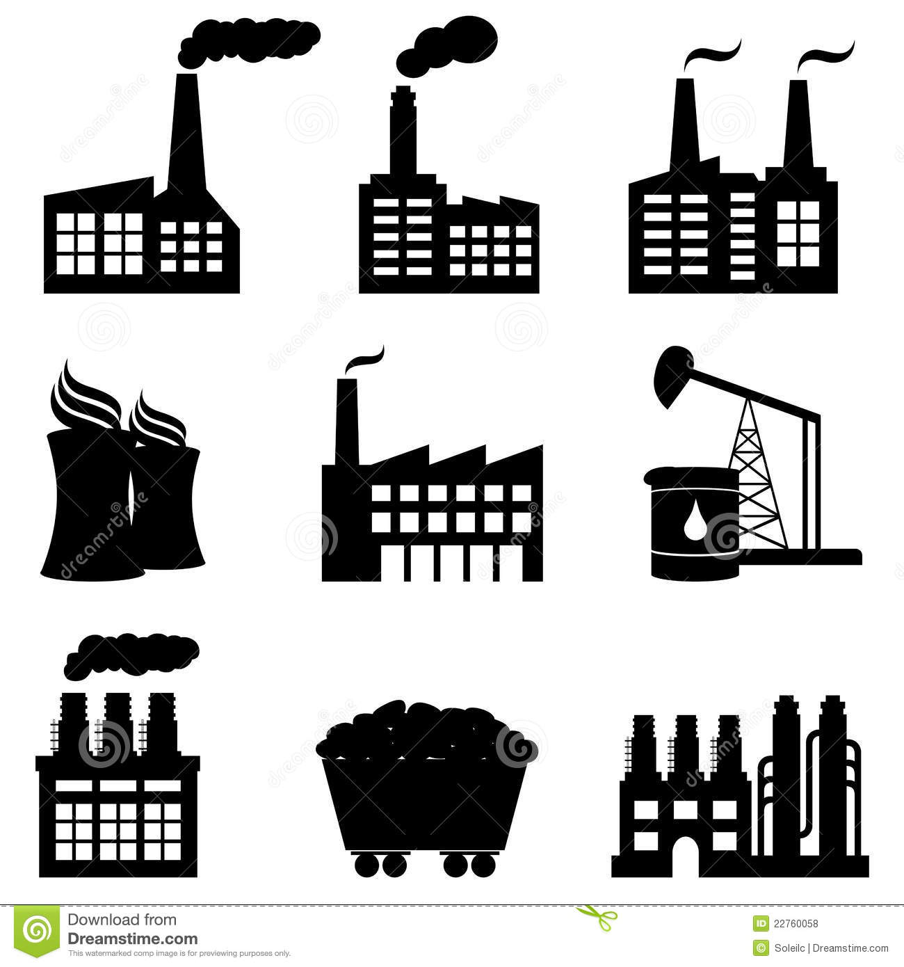 factory  nuclear power plant and energy icons royalty free