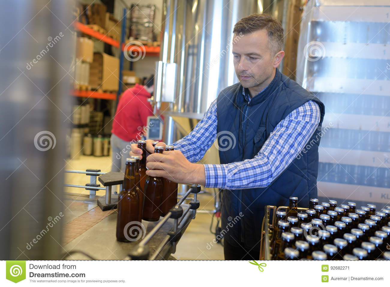 End Of Line Person Wiring Diagrams Led Circuit Http Wwwdatasheetdircom 91leddriverbuck Factory Operative Packing Bottles From Production Stock Rh Dreamstime Com Song Original Leader Job