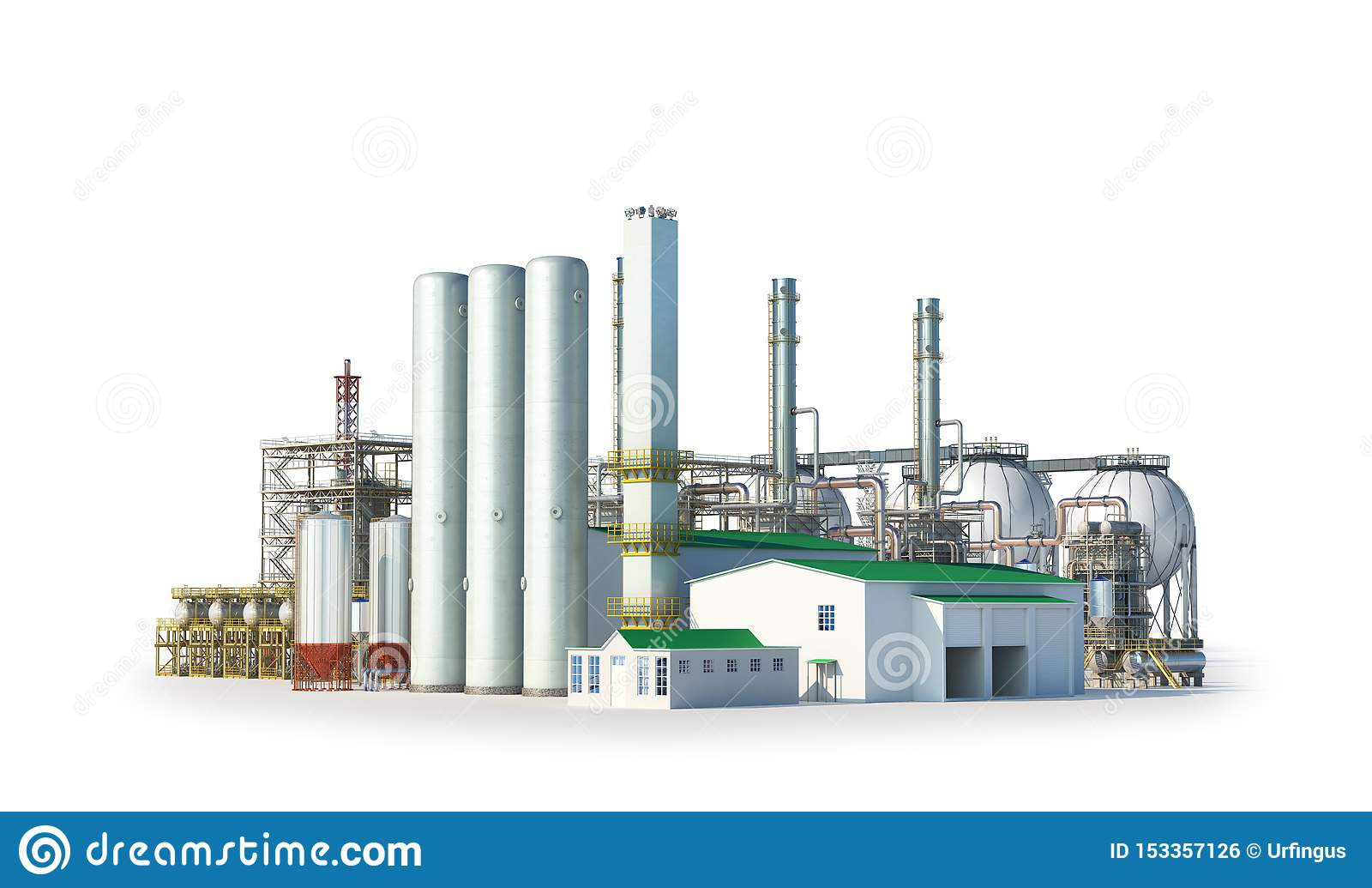 Factory outside on white background