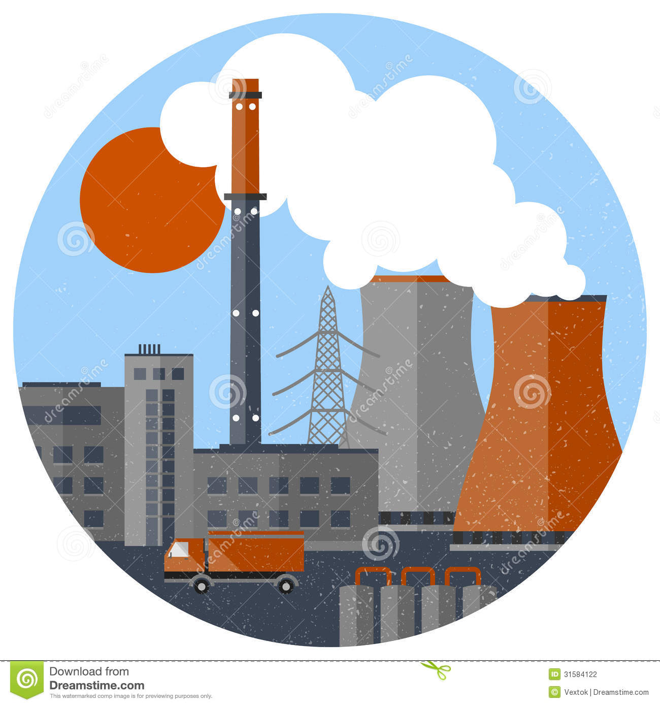 Stock Photography: Factory pipes with smoke. Image: 31584122