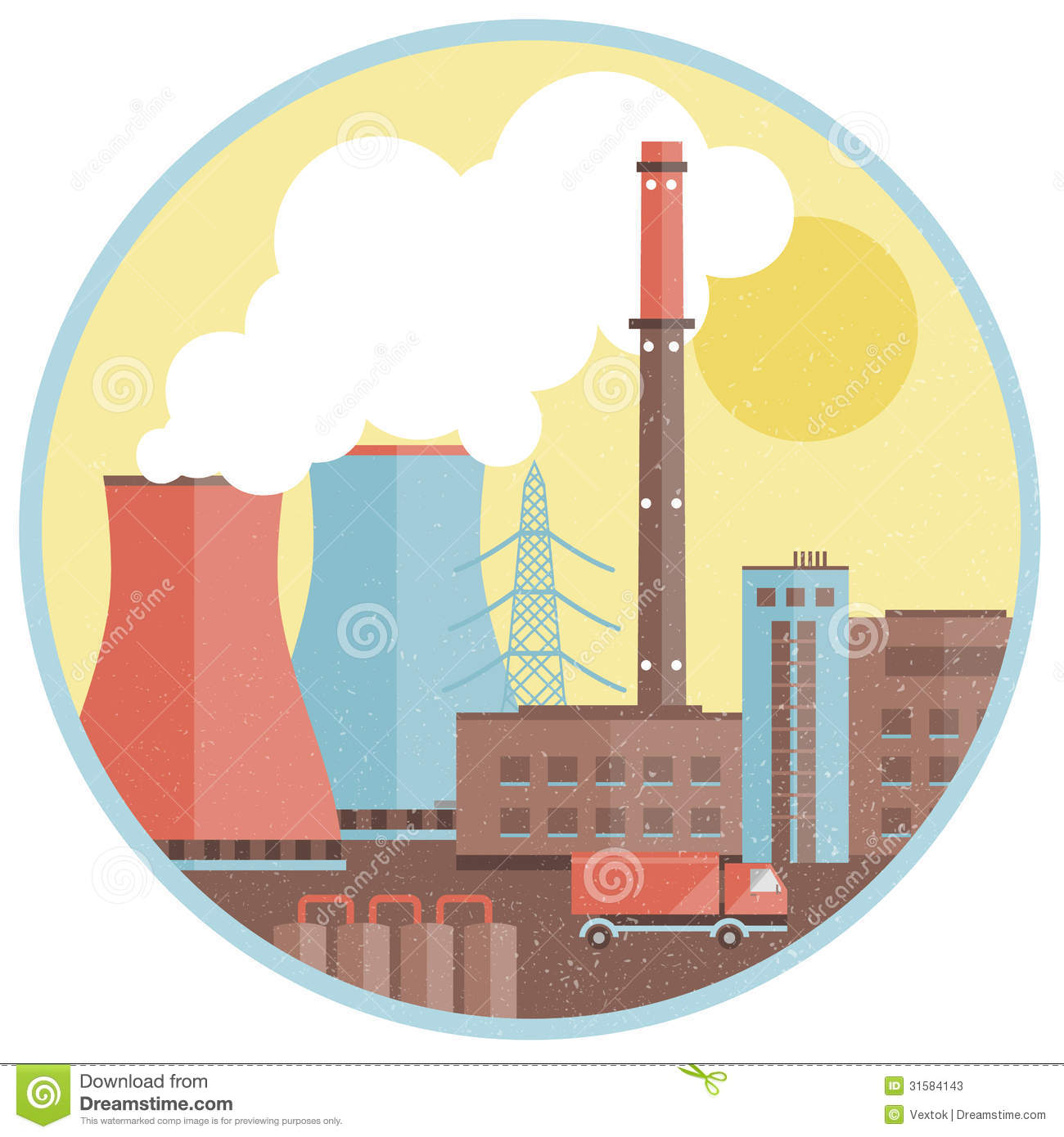 Factory Pipes With Smoke Stock Vector Image Of Industry