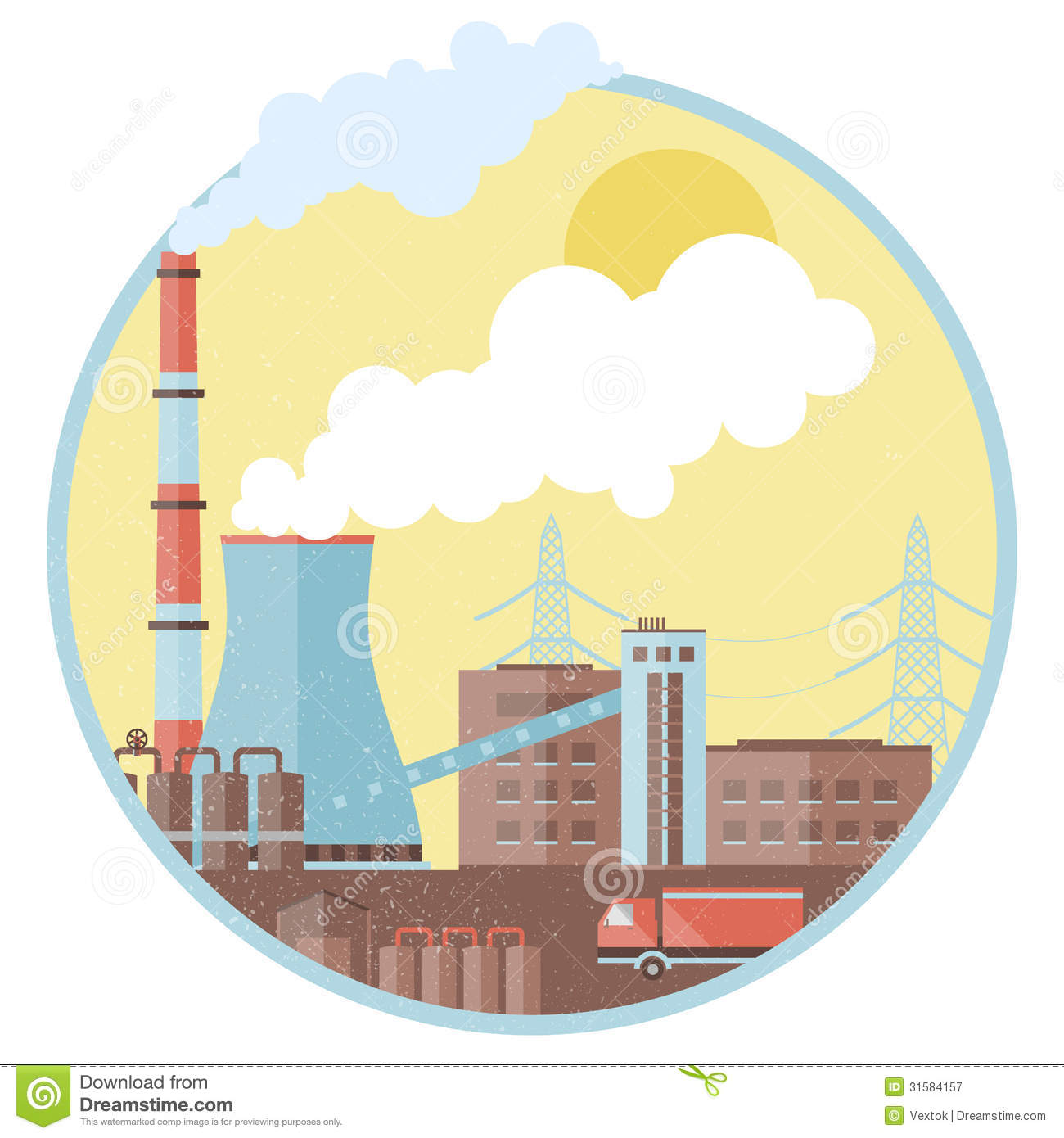 Factory pipes with smoke stock vector. Image of ...