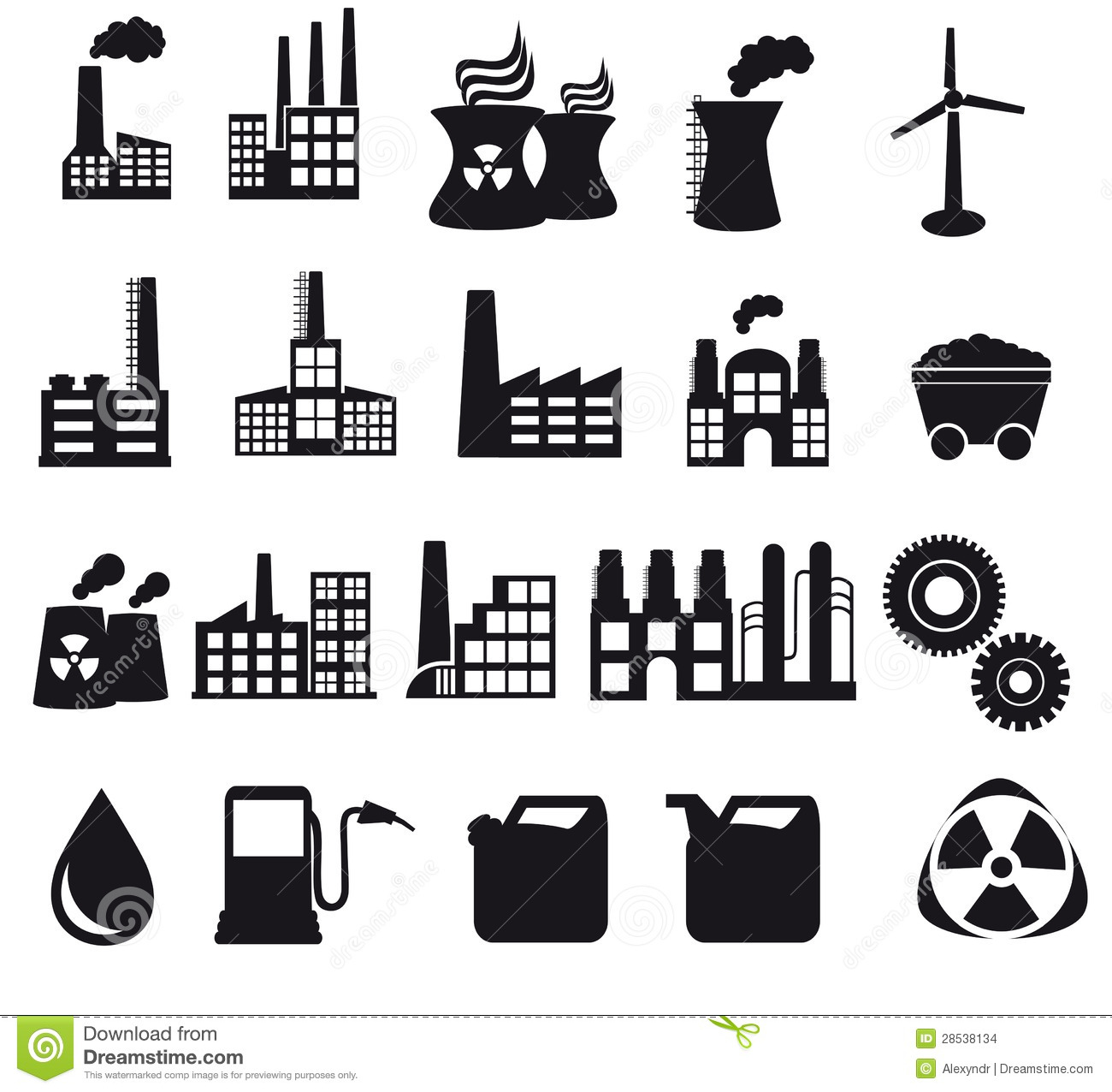 factory and pollution icons stock images