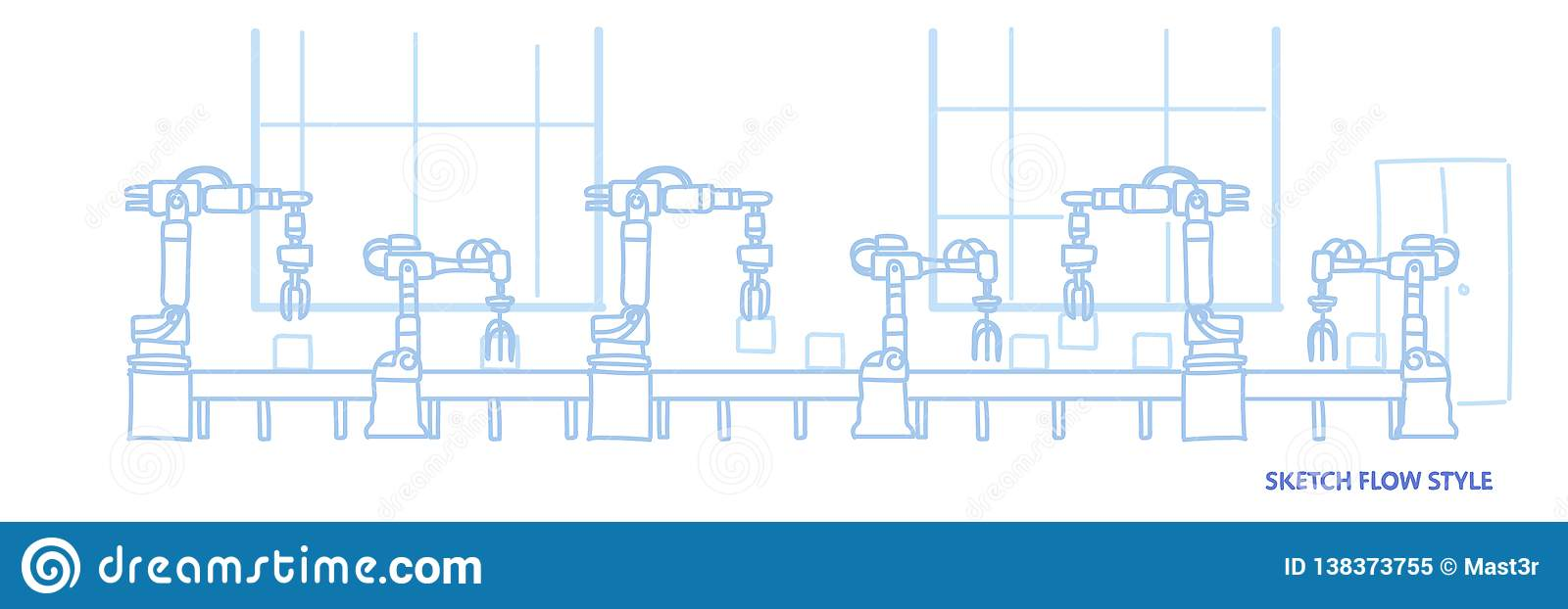 Factory production conveyor automatic assembly line machinery industrial automation industry concept sketch flow style