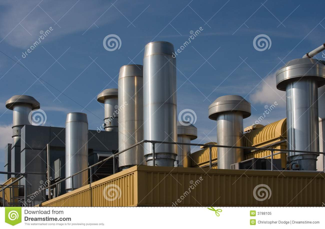 Factory Rooftop Heating And Ventilation Stock Image