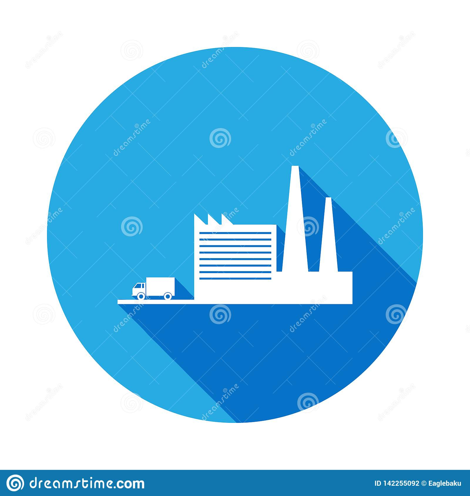 Factory And Truck Leaving Icon With Long Shadow  Element Of
