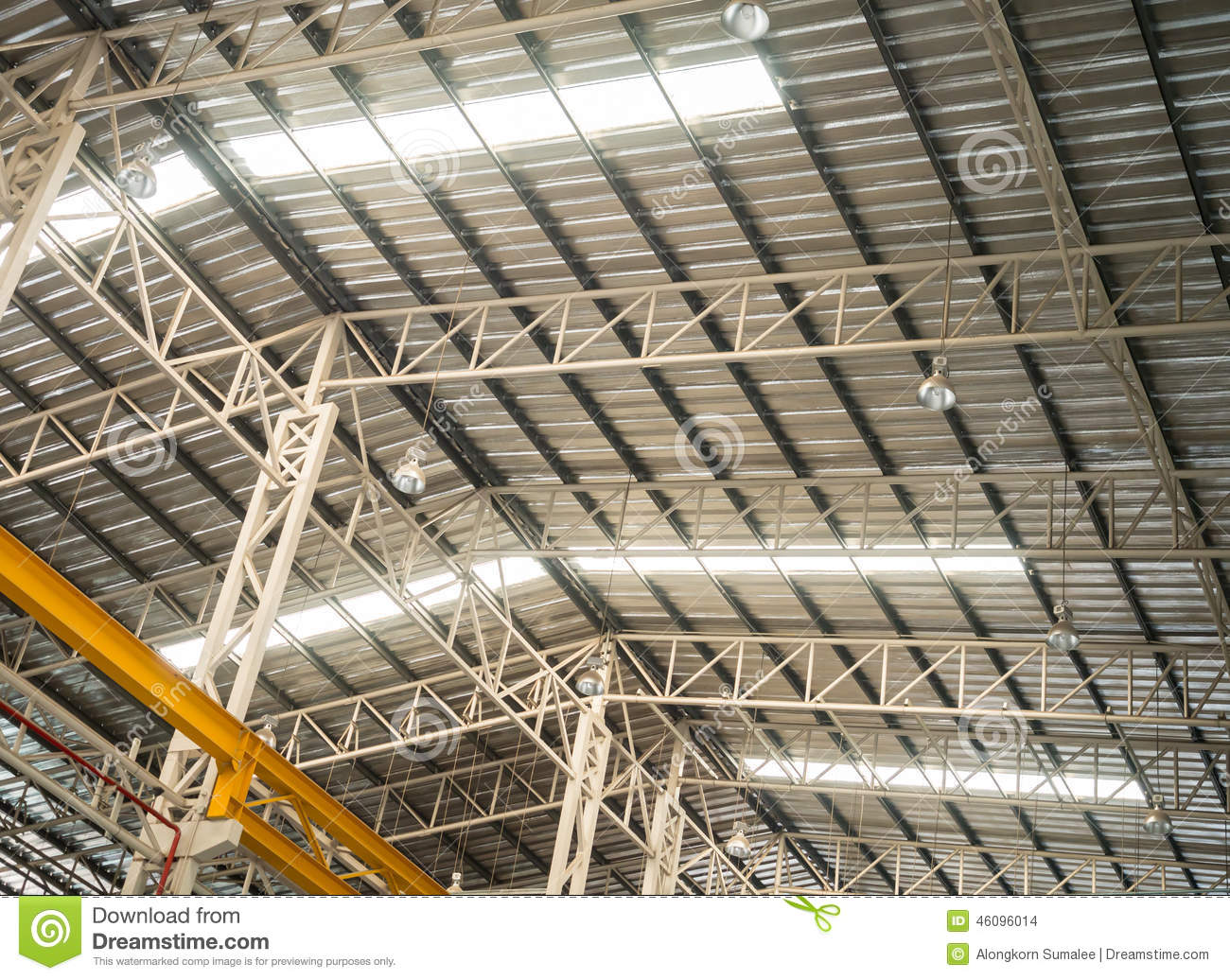 Factory Truss Structure With Translucent Roof Stock Photo