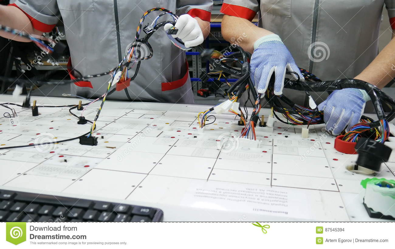 Factory Worker Hands Are Working On Machine And Connecting ...