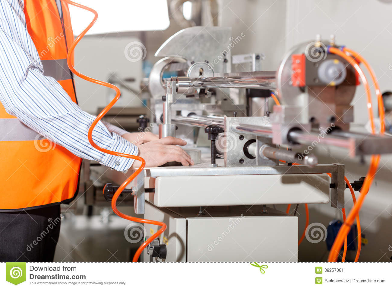 Factory worker during production process