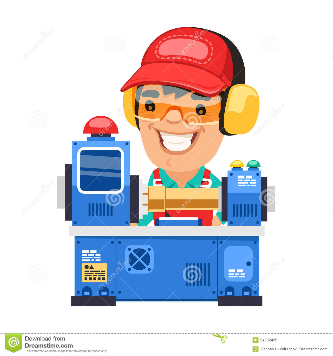 Factory Worker Is Working On Lathe Machine Stock Vector