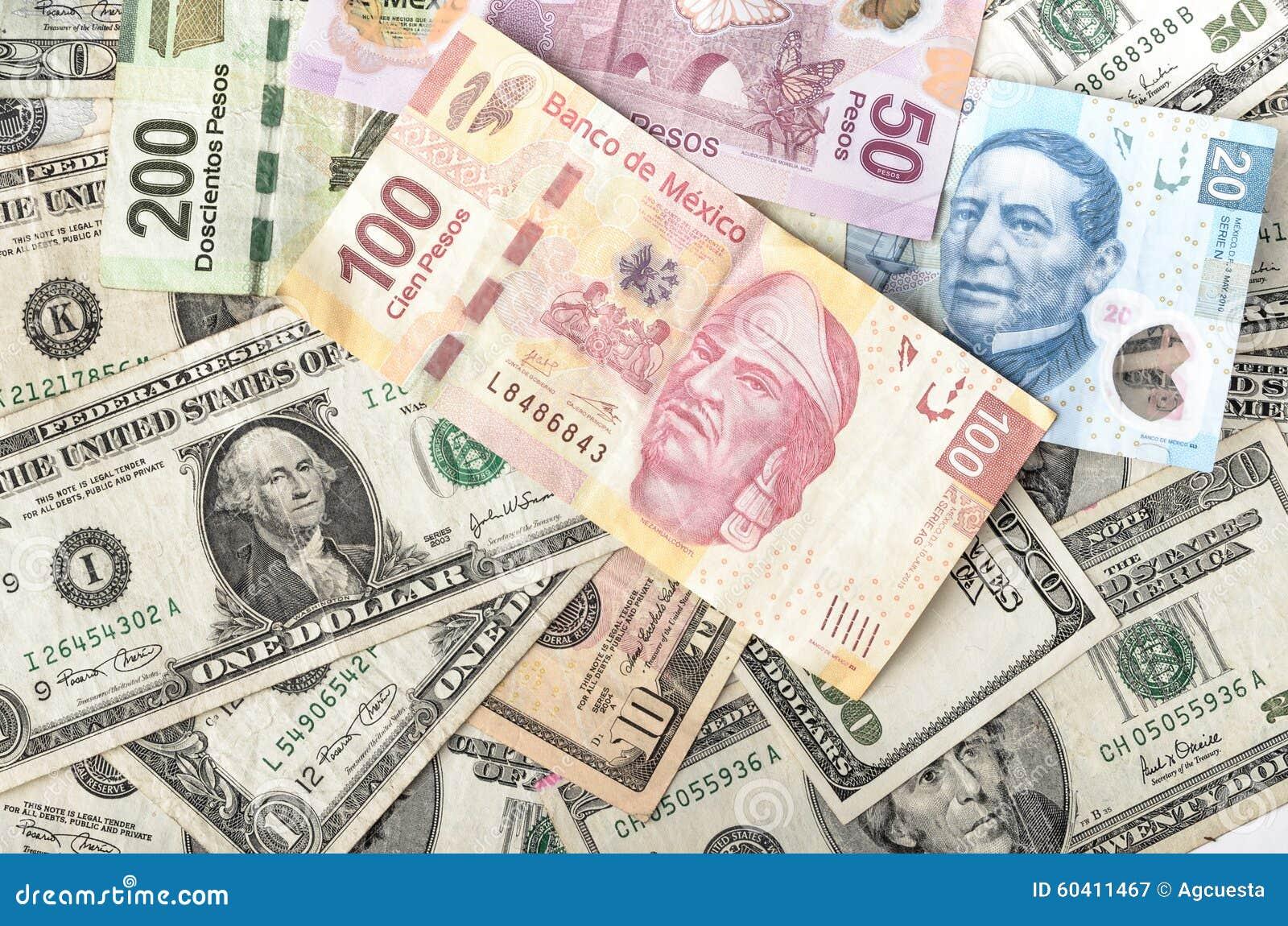 Factures du dollar et de peso mexicain