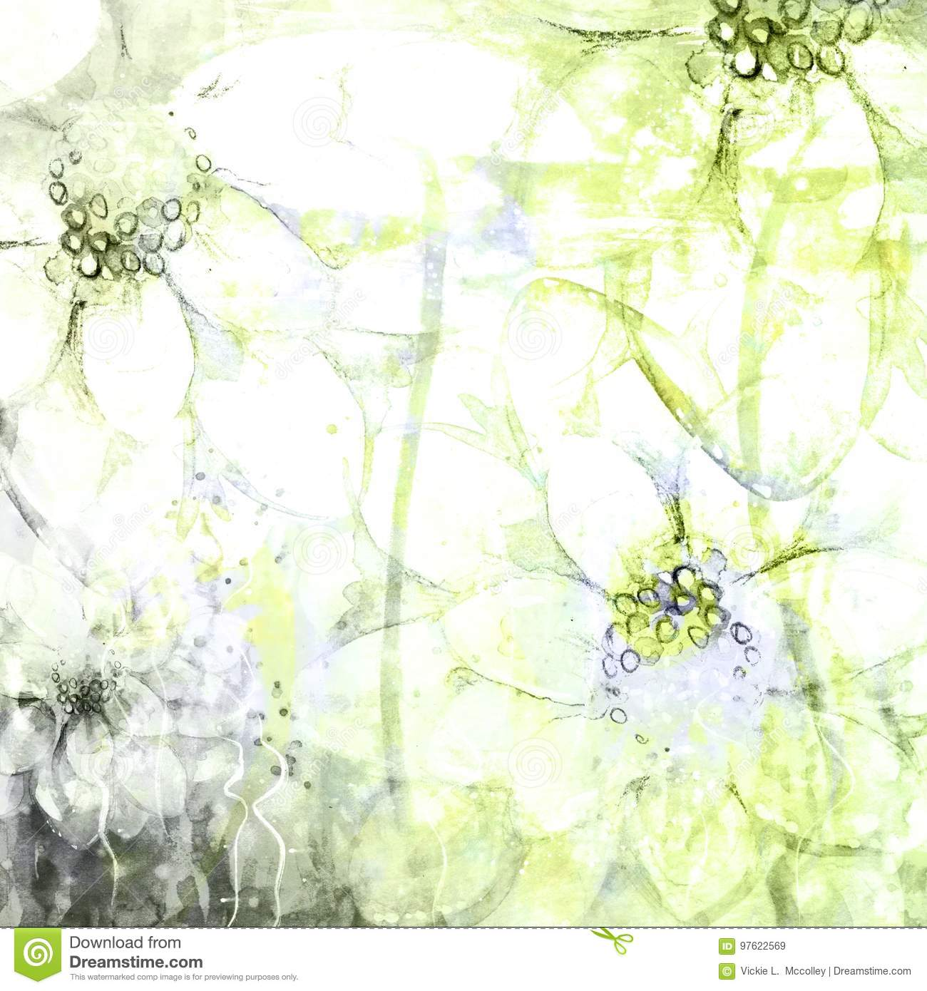 Faded Abstract Floral Sketched Watercolor Grunge Background Illustrations