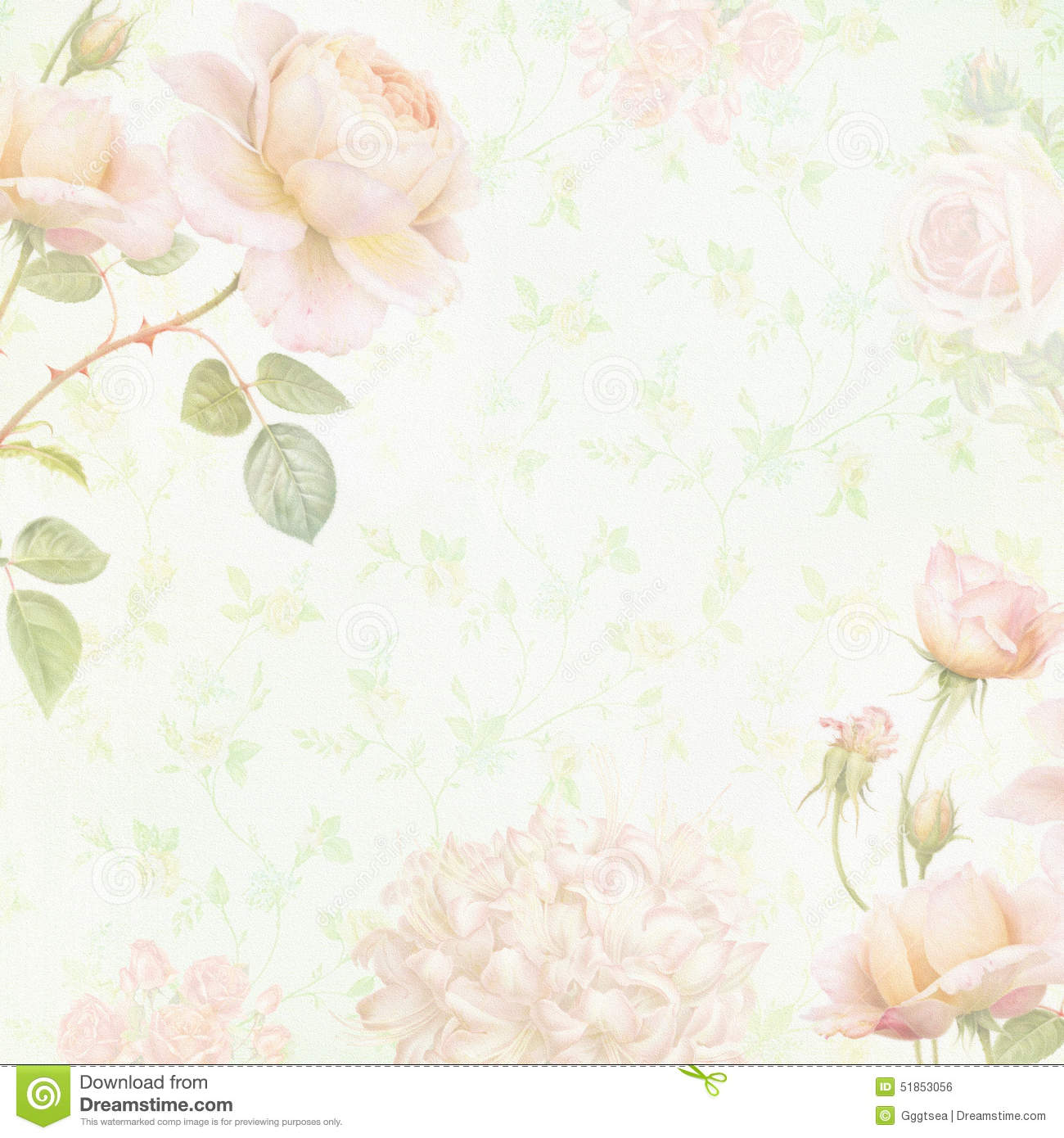 Faded Floral Paper Stock Photo Image Of Rose Botanic 51853056