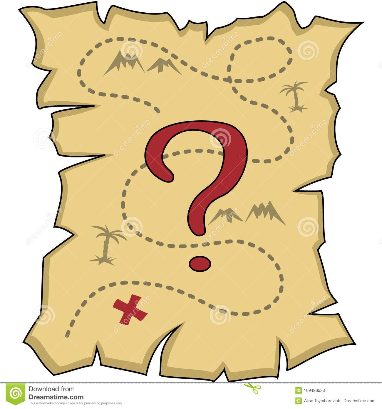 Faded Old Map With A Question Mark, Isolated Stock Illustration