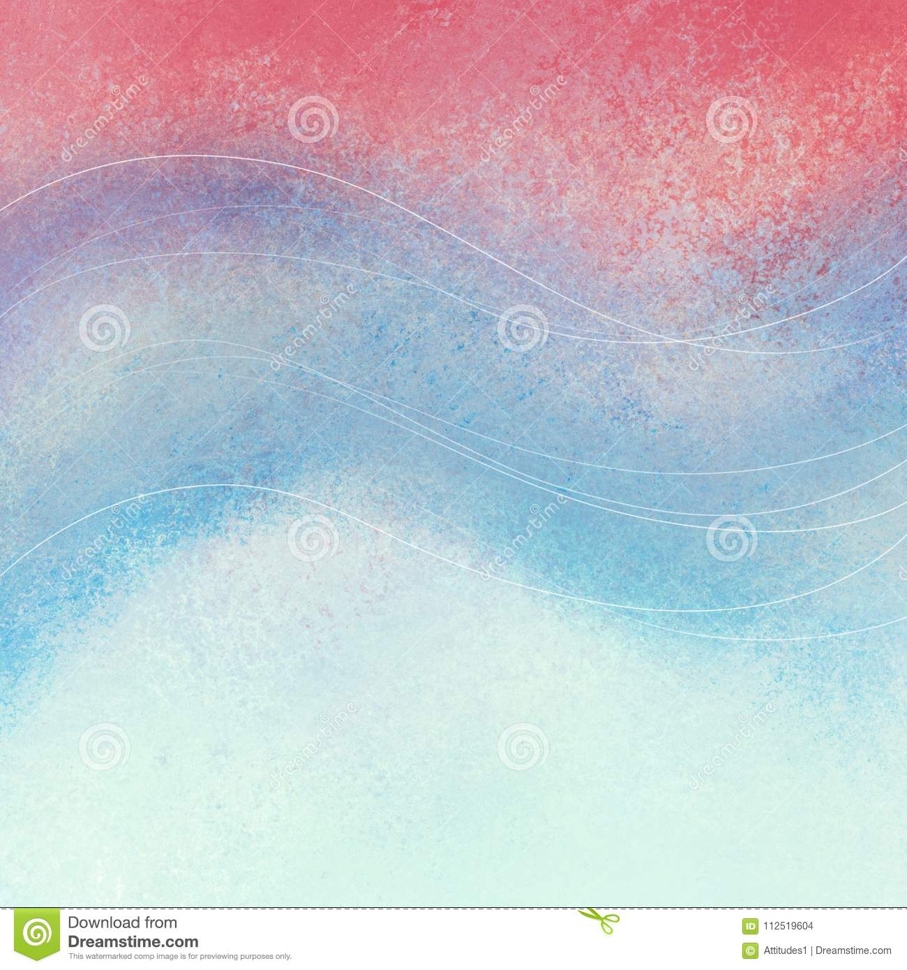 Faded Red White And Blue Background With Curved Wavy Lines Design