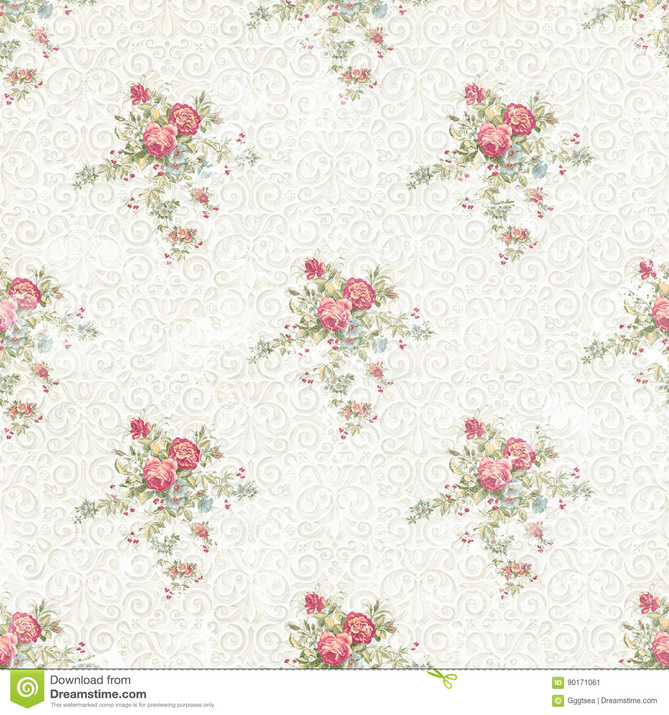 Faded Seamless Flower Pattern Ornament Background Stock Illustration