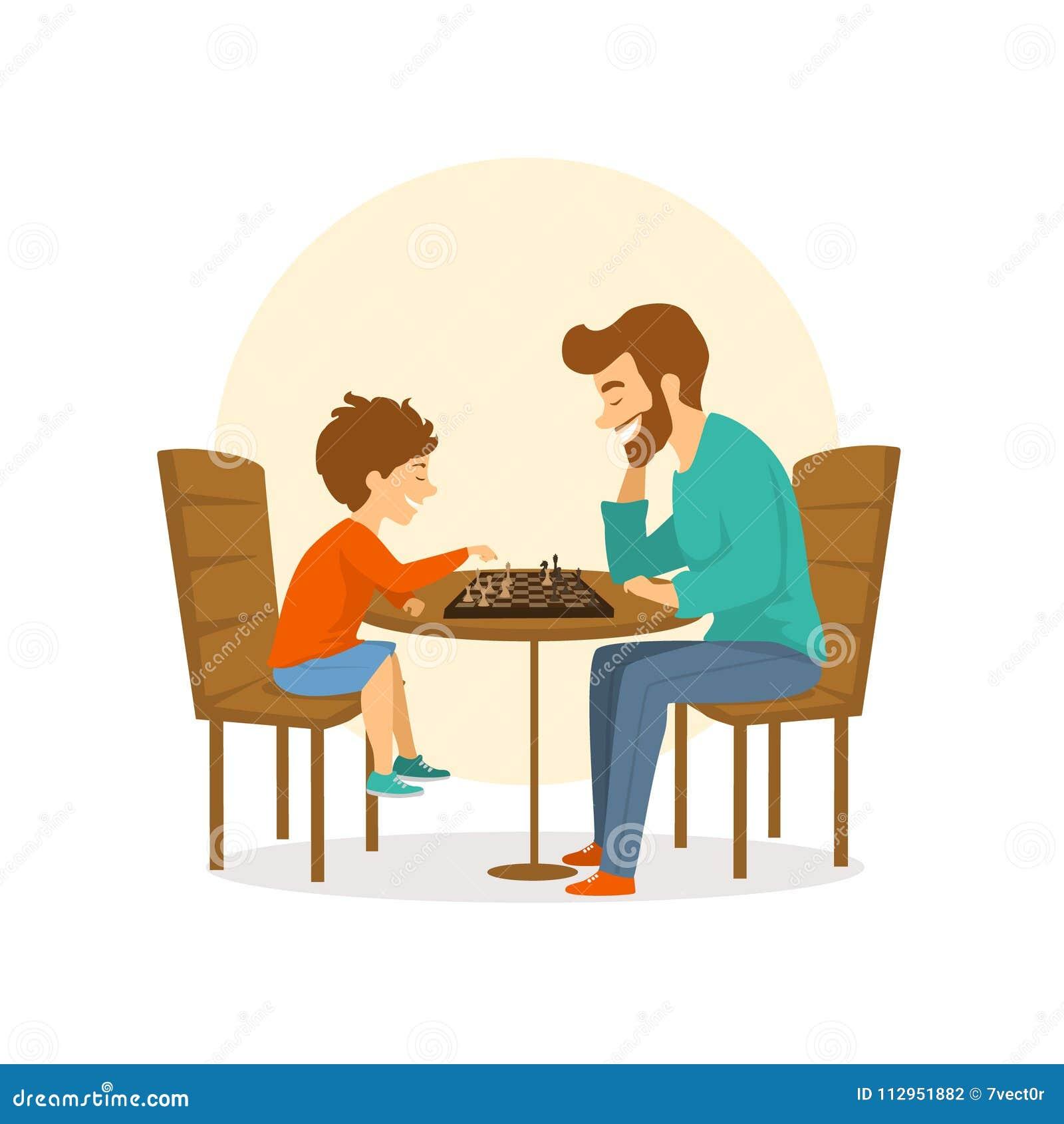 Fadern och sonen, mannen och pojken som spelar schack tillsammans, gyckel isolerade vektorillustrationen