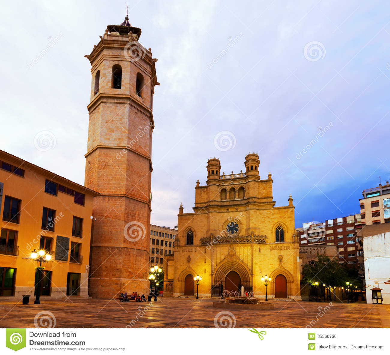 Castellon de la Plana Spain  city pictures gallery : ... tower and Gothic Cathedral in evening. Castellon de la Plana, Spain