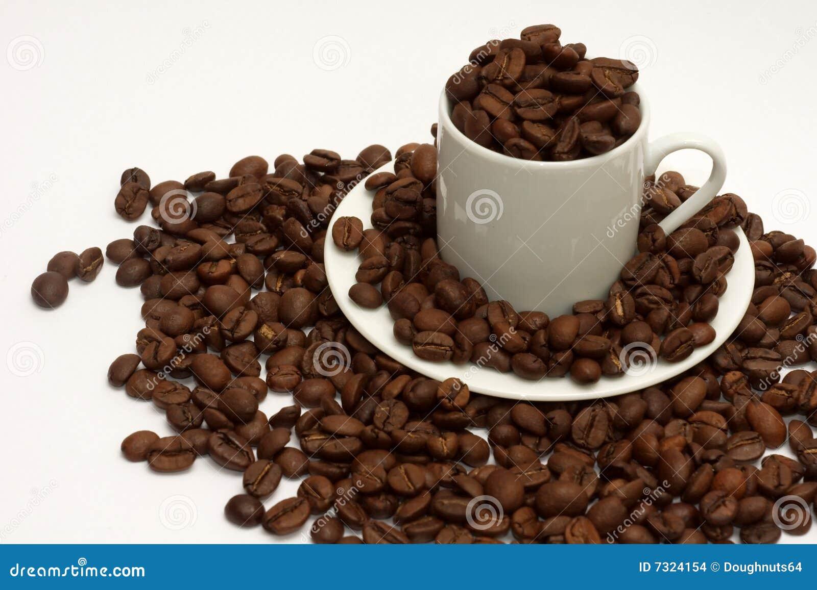 Fagioli di Espressso in tazza del caffè espresso