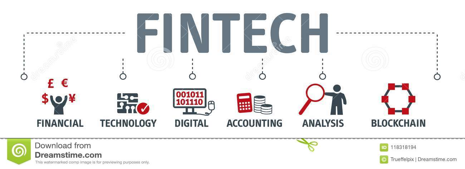 Fahne Fintech-Investitions-Finanzinternet-Technologie-Konzept