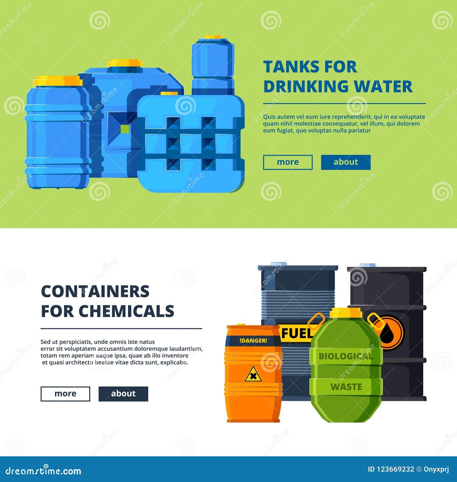 Fahnen mit Fässern Verschiedene horizontale Fahnenschablone mit Illustrationen von verschiedenen Wasser- und Öltanks