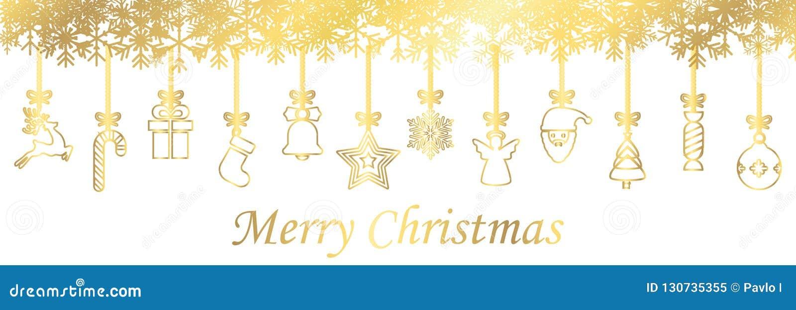 Fahnen von den verschiedenen goldenen hängenden Weihnachtssymbolikonen, frohe Weihnachten, guten Rutsch ins Neue Jahr - Vektor