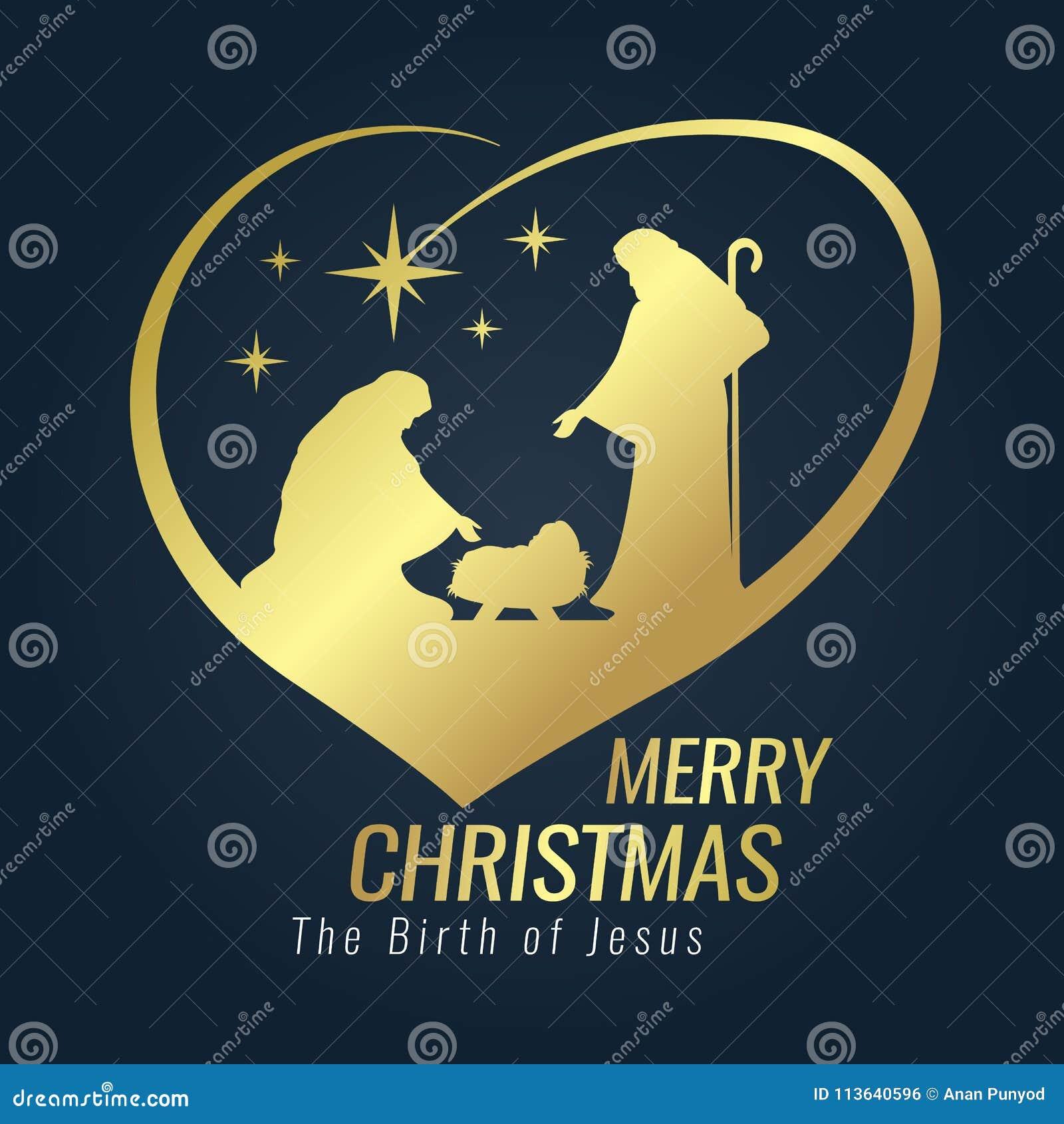 Frohe Weihnachten Jesus.Fahnengoldzeichen Der Frohen Weihnachten Mit Nachtlicher
