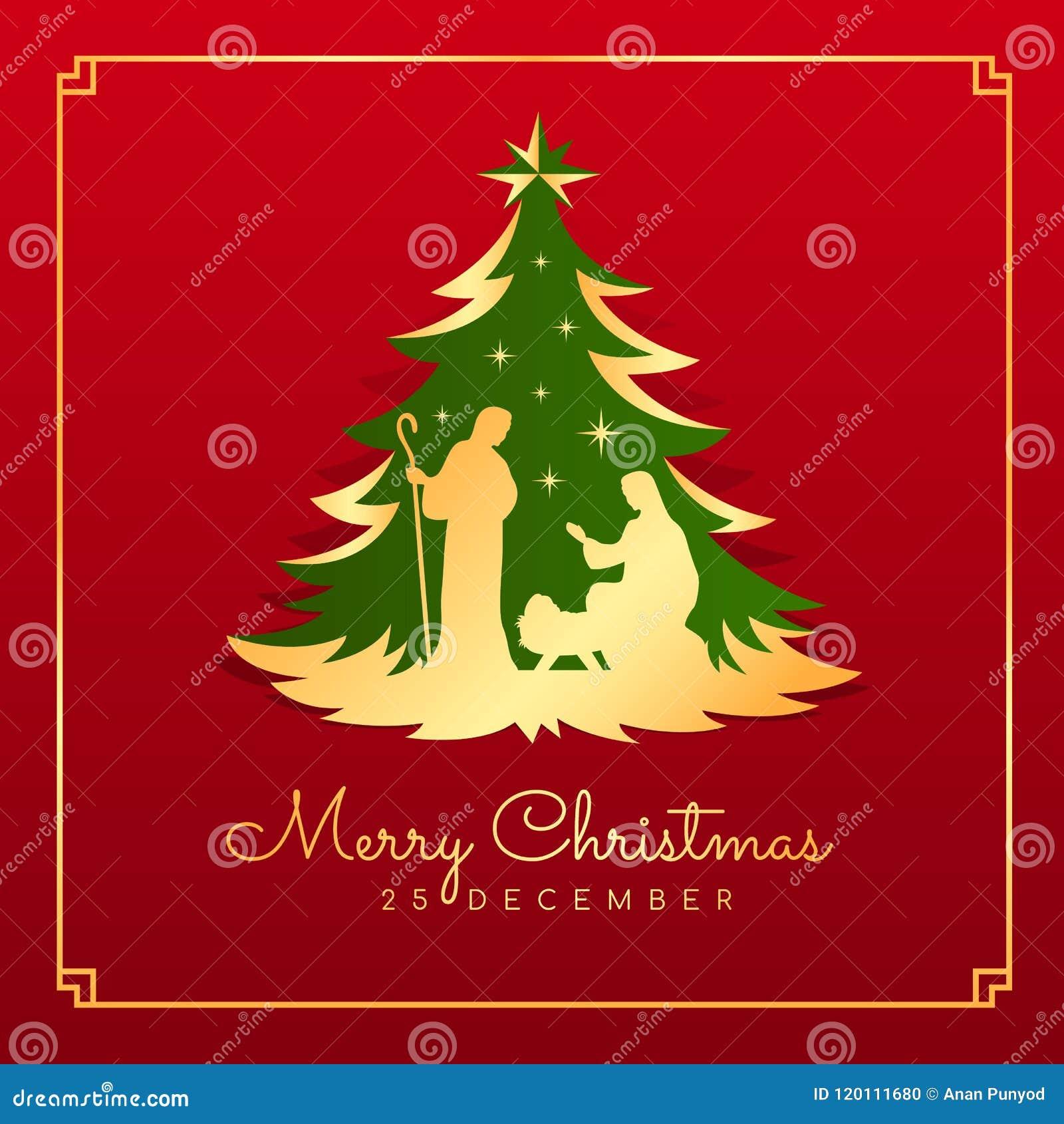 Bilder Weihnachten Krippe.Fahnenkarte Der Frohen Weihnachten Mit Nächtlicher Weihnachts