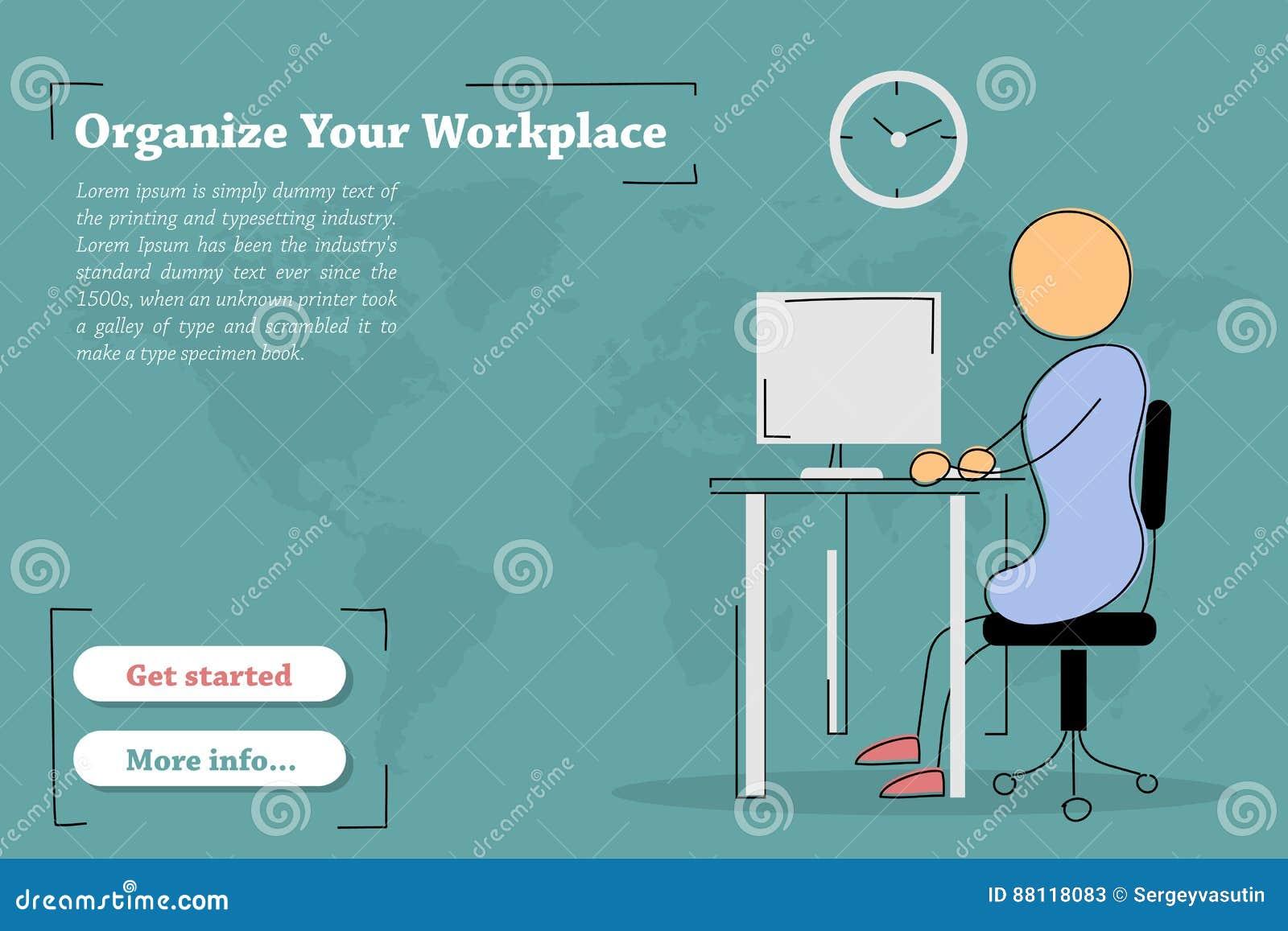 Fahnenschablone Organisieren Sie Arbeitsplatz Stock Abbildung
