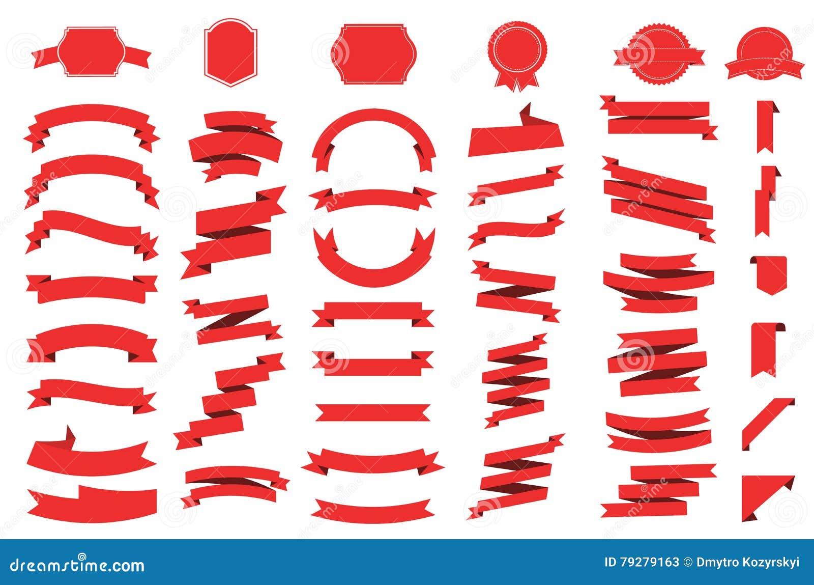 Fahnenvektorikone eingestellt auf weißen Hintergrund Band lokalisierte Formillustration des Geschenks und des Zusatzes