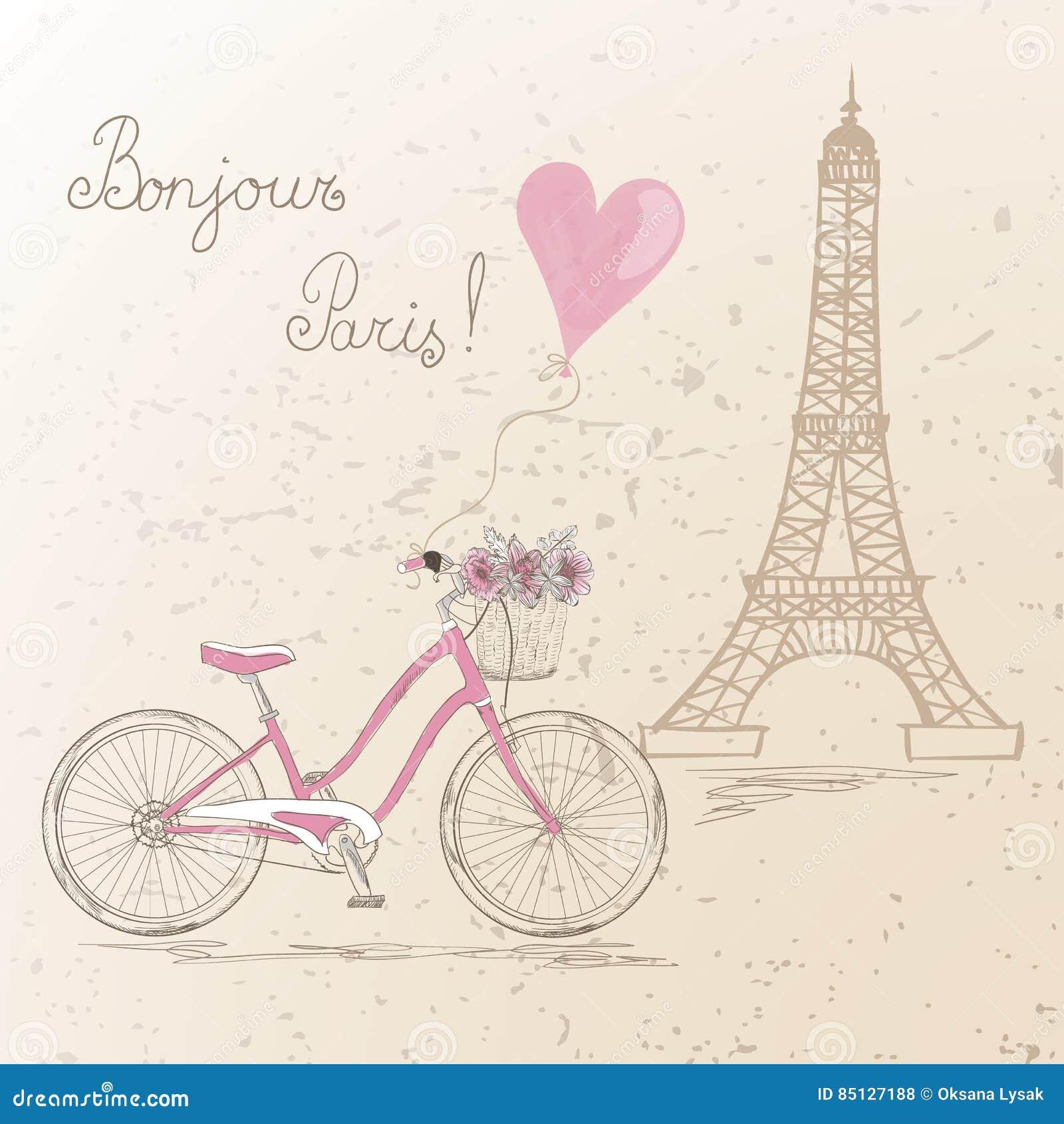 Fahren Sie mit einem Korb rad, der von den Blumen auf dem Hintergrund Eiffelturm in Paris voll ist