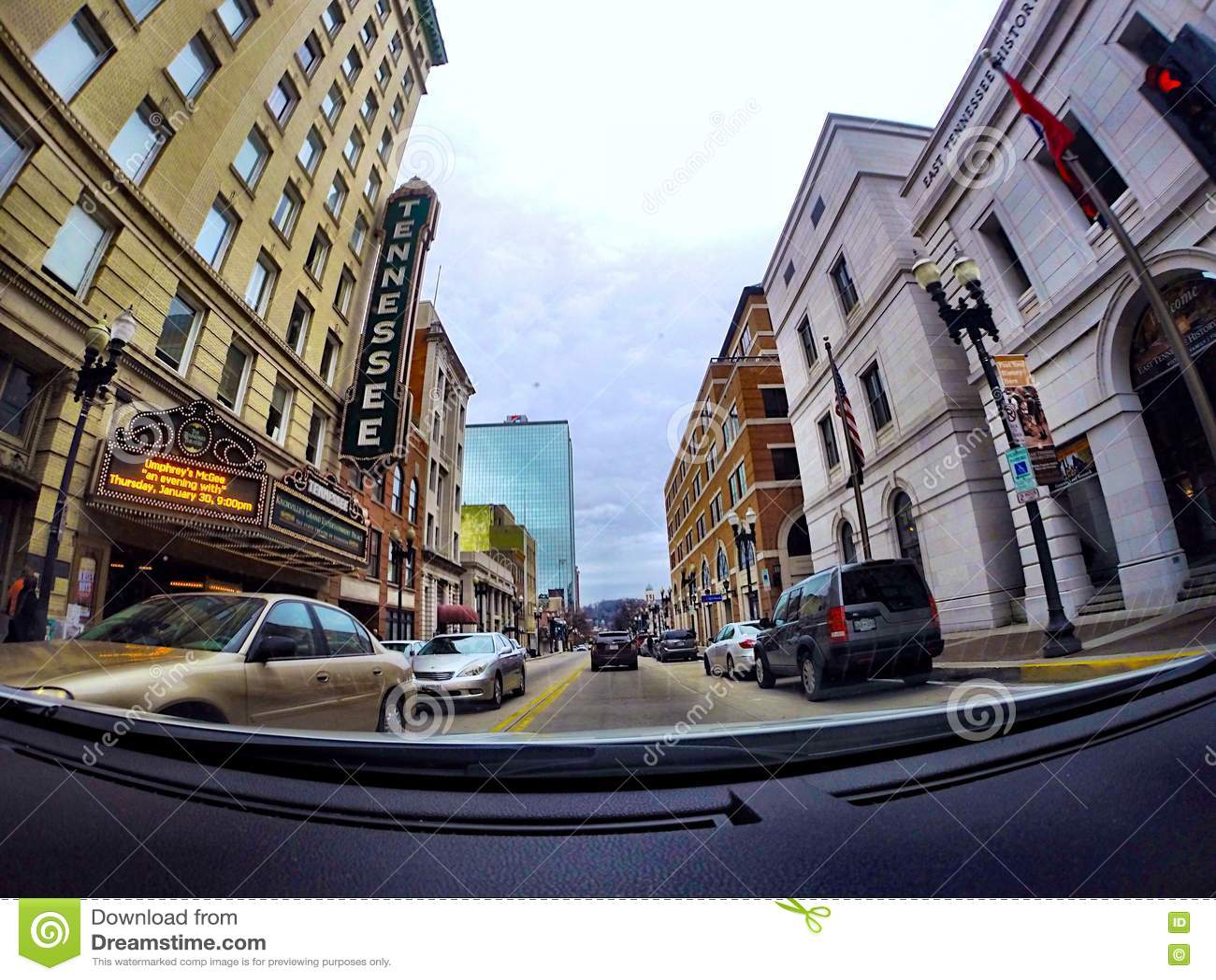 Fahren von im Stadtzentrum gelegenem Knoxville