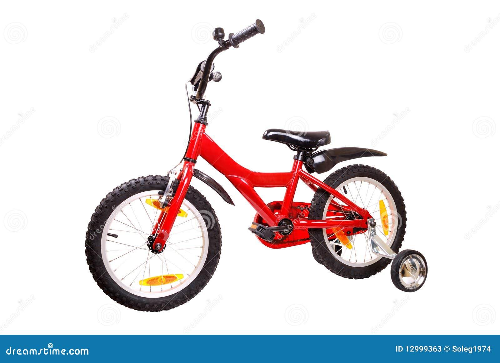 Fahrrad der neuen roten Kinder auf Weiß