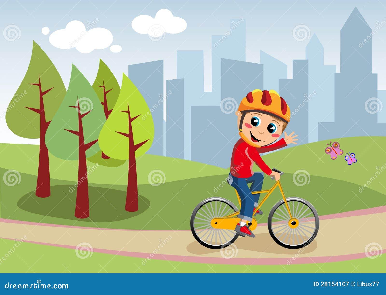 Fahrrad-Junge im Stadt-Park