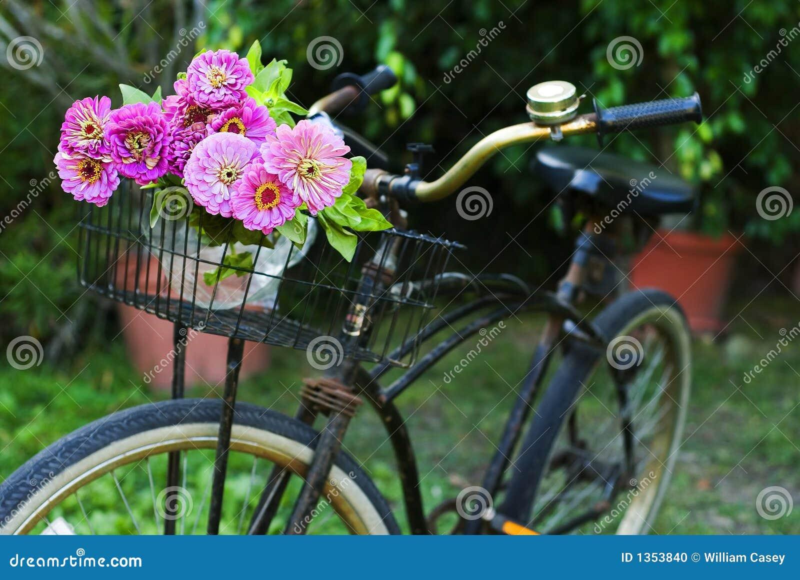 fahrrad mit blumen stockfoto bild 1353840. Black Bedroom Furniture Sets. Home Design Ideas