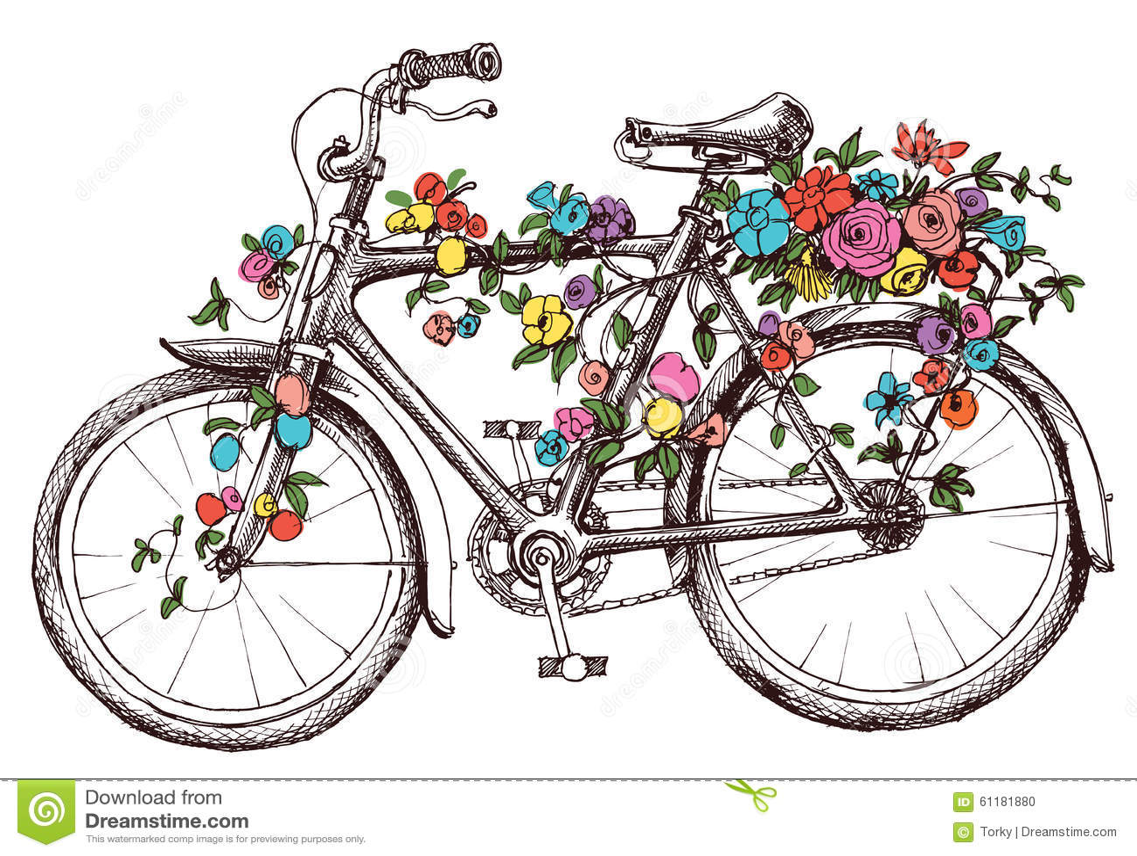fahrrad mit blumen vektor abbildung bild 61181880. Black Bedroom Furniture Sets. Home Design Ideas