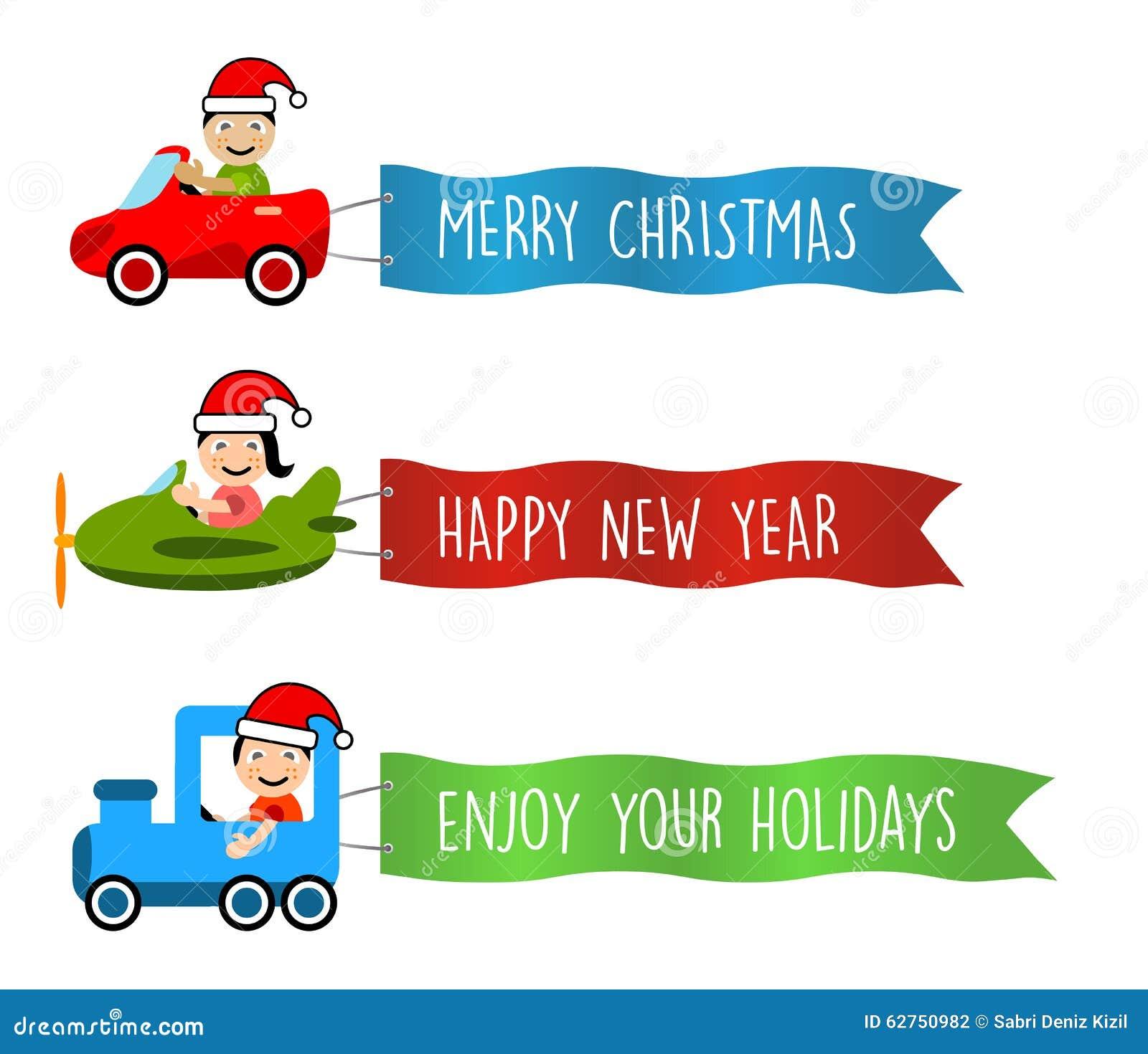 Fahrzeuge fliegt mit langen Fahnen für Weihnachten