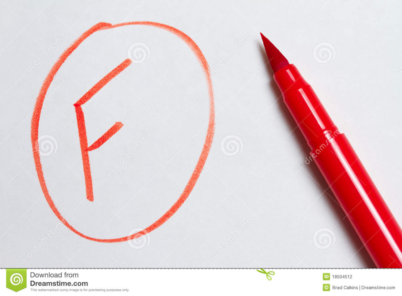 Red marking pen and F for failing grade on school paper.