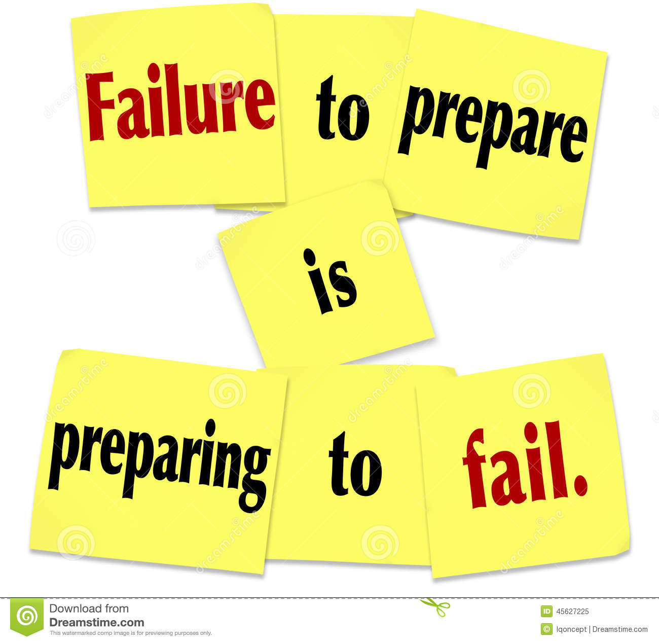 failure to prepare is preparing to fail sticky note saying vein clips weather vane clip art