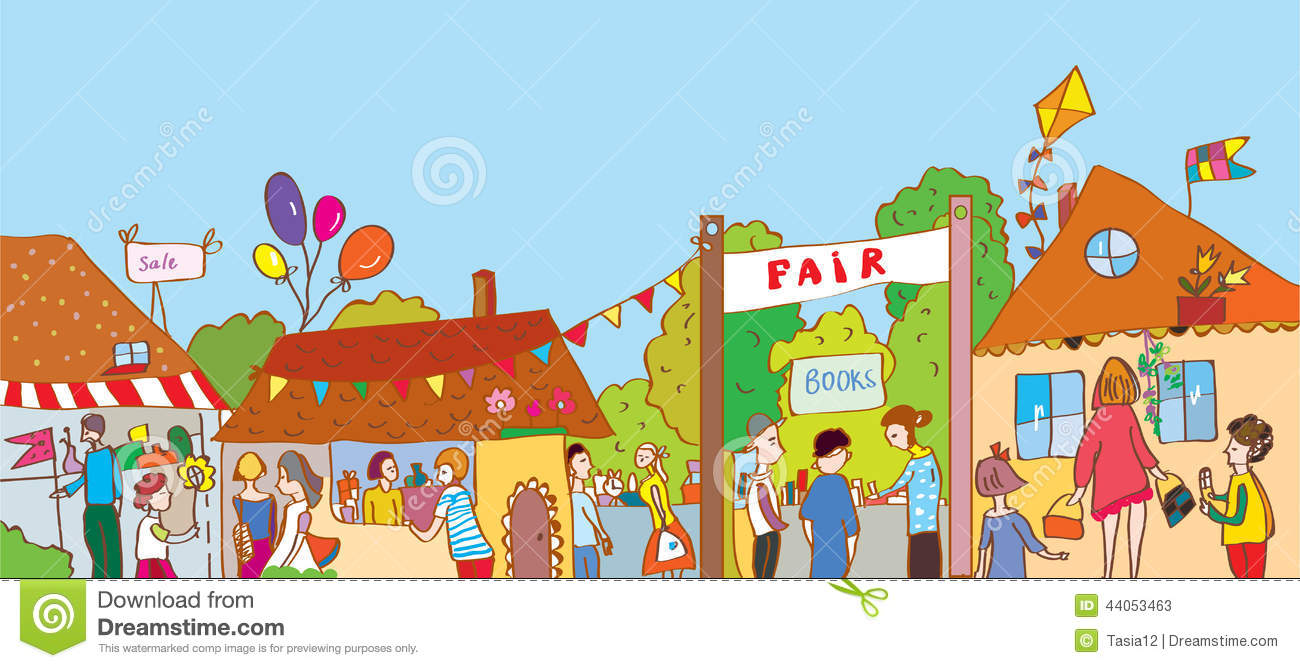 Fair Holiday At The Town Illustration With Many People Stock Vector ...