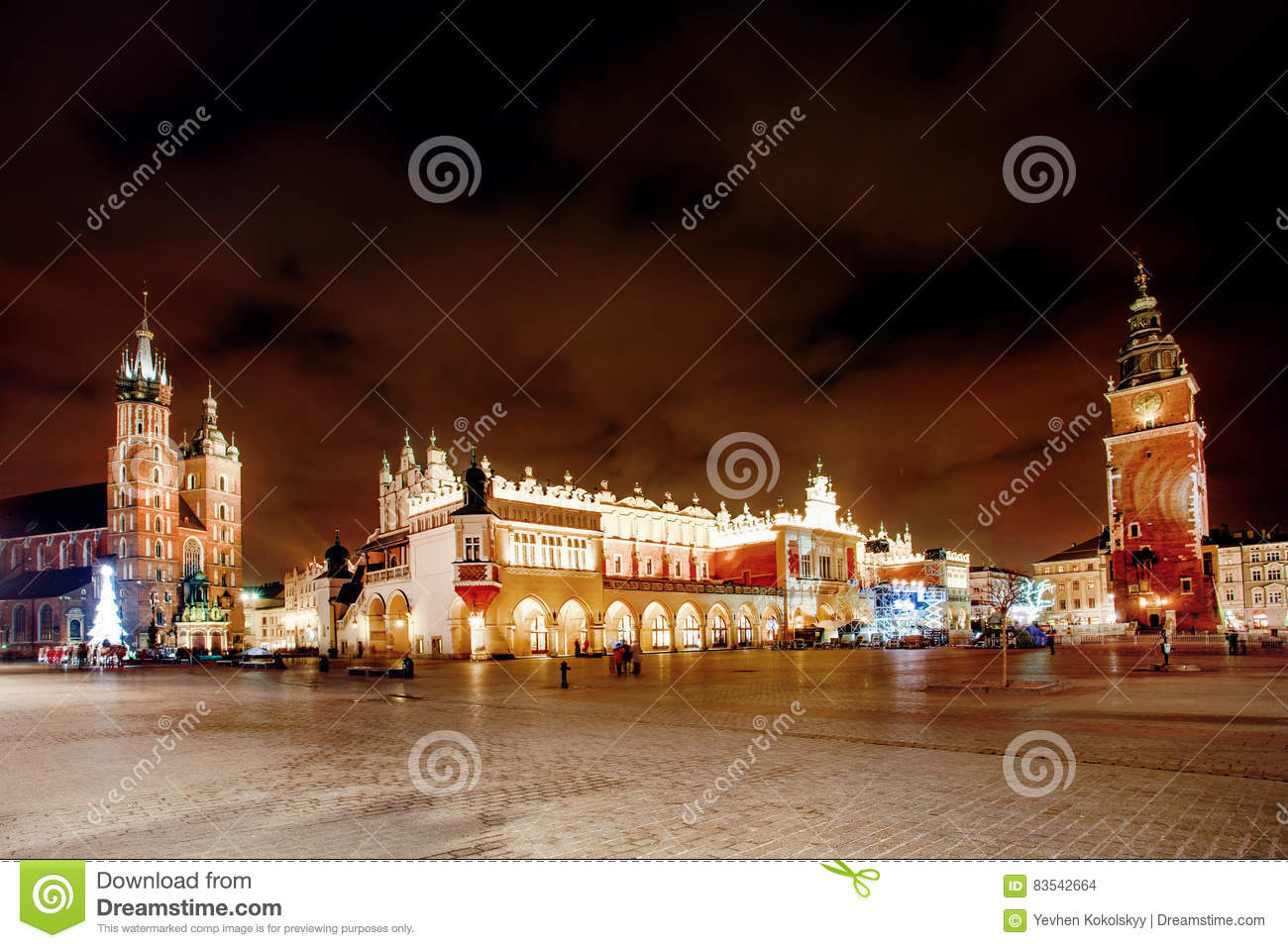 Fair in KRAKOW. Main Market Square and St. Mary`s Basilica