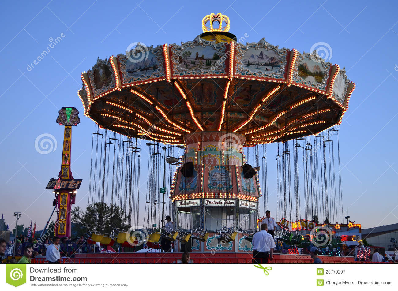 Fair swing ride editorial photography. Image of wheel ...