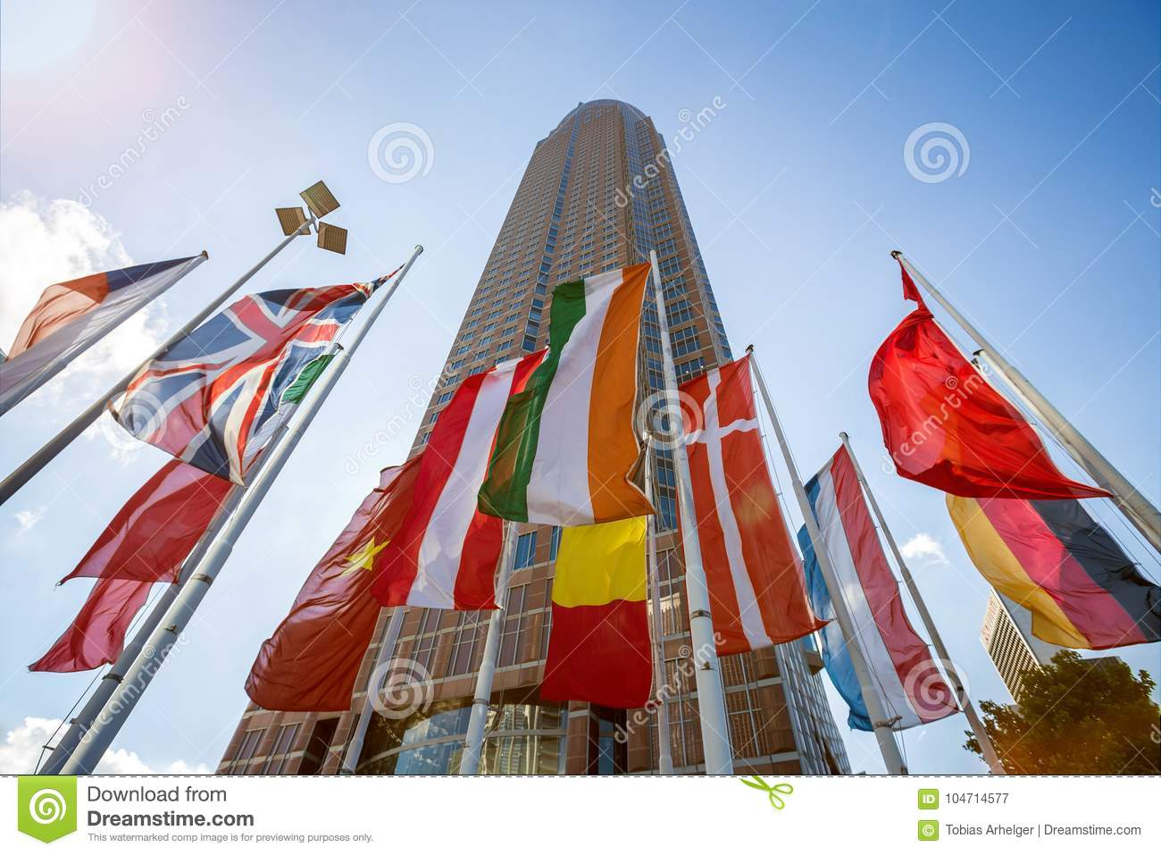 fair tower and country flags in frankfurt germany stock image image of flag frankfurt 104714577. Black Bedroom Furniture Sets. Home Design Ideas