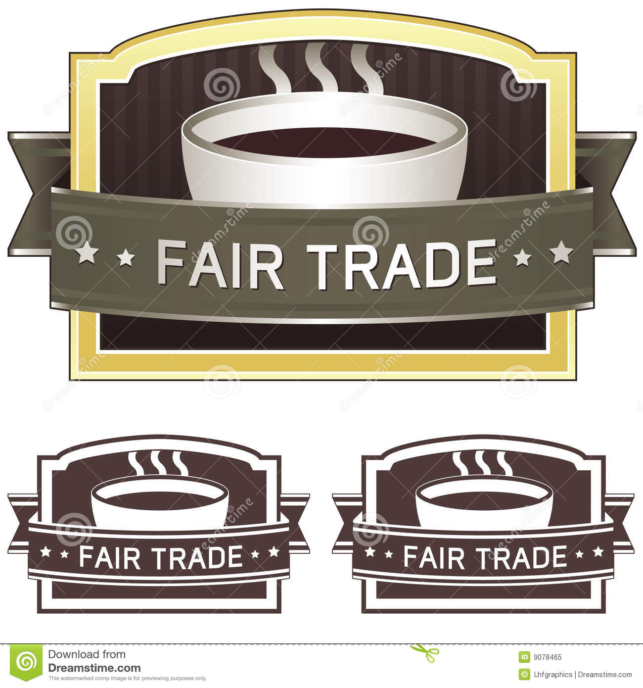 Fair Trade Coffee ~ Fair trade coffee label sticker royalty free stock photo