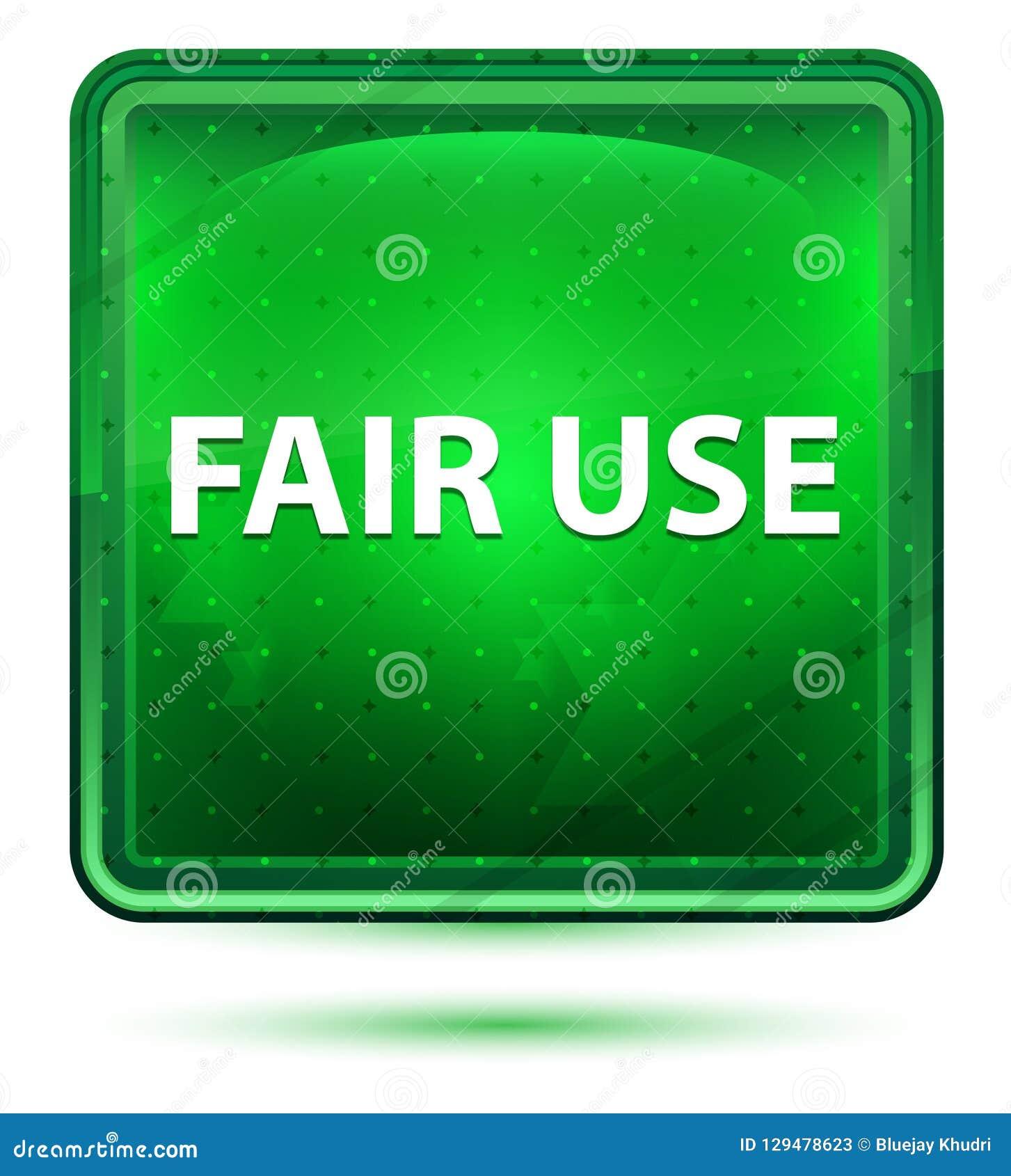 Fair Use Neon Light Green Square Button